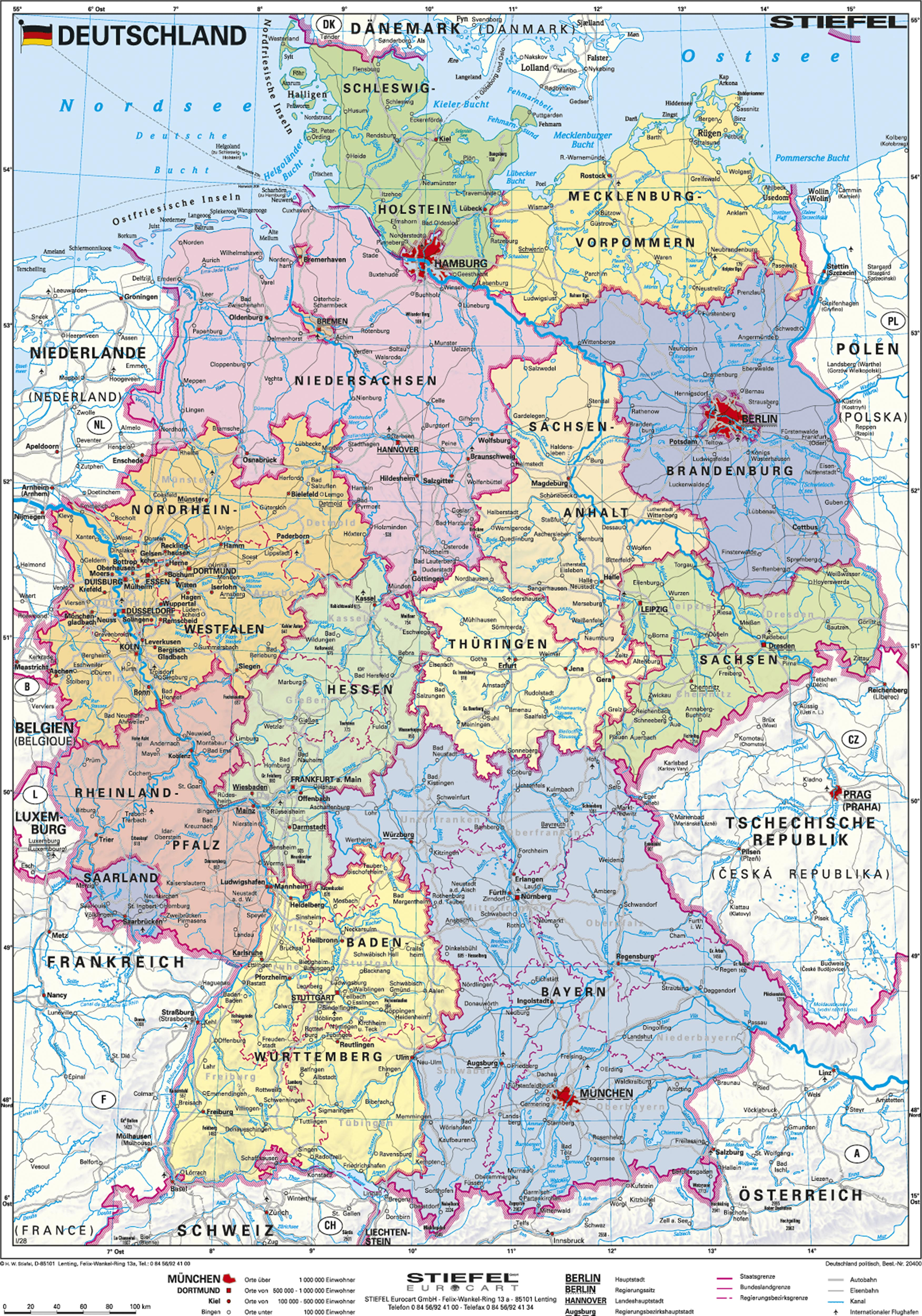 Landkarte Deutsch.Politische Deutschlandkarte 67 X 91cm
