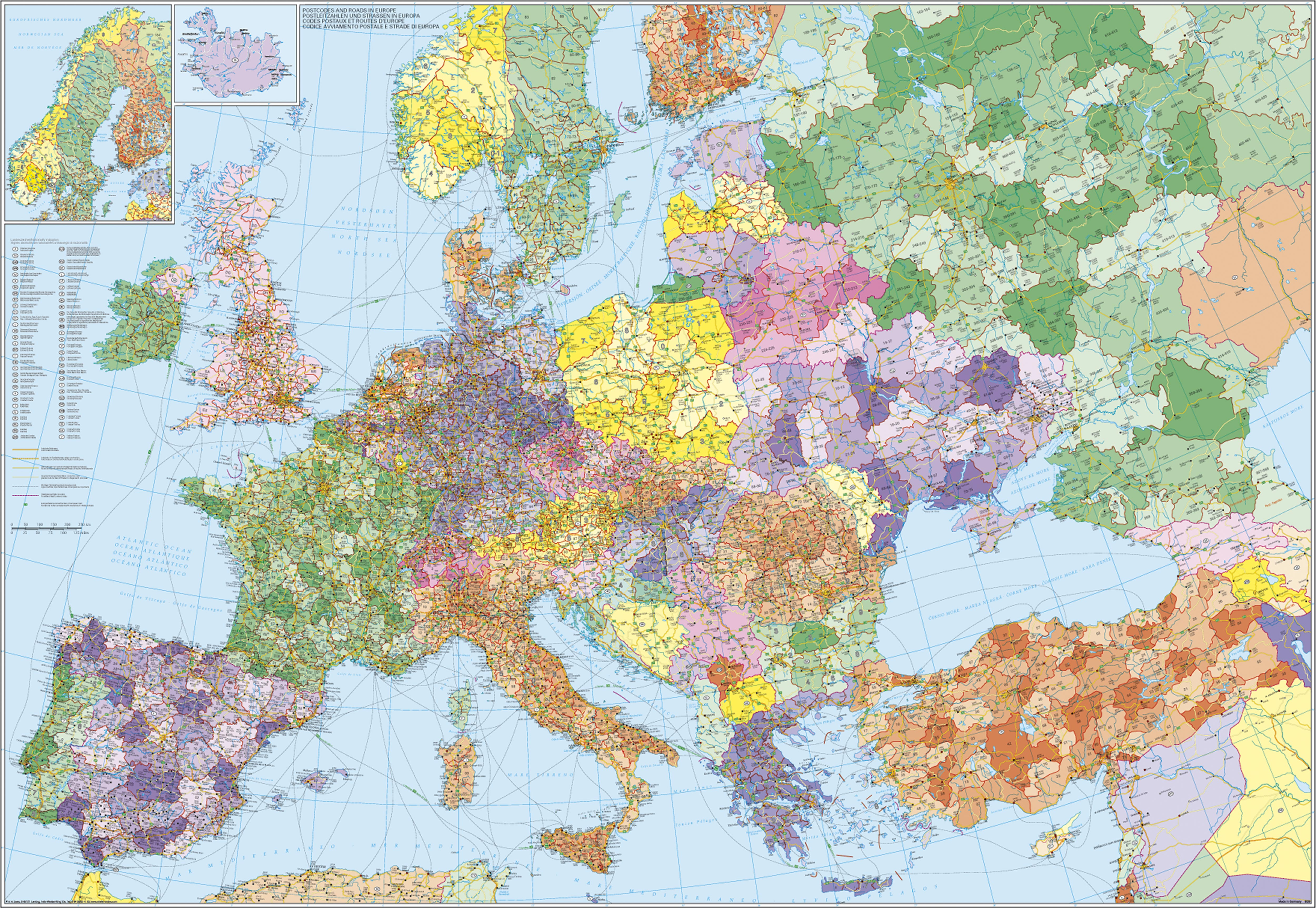 Map Of Europe And Turkey.Post Code Wall Map Europe With Turkey 137 X 89 Cm Europe Europe