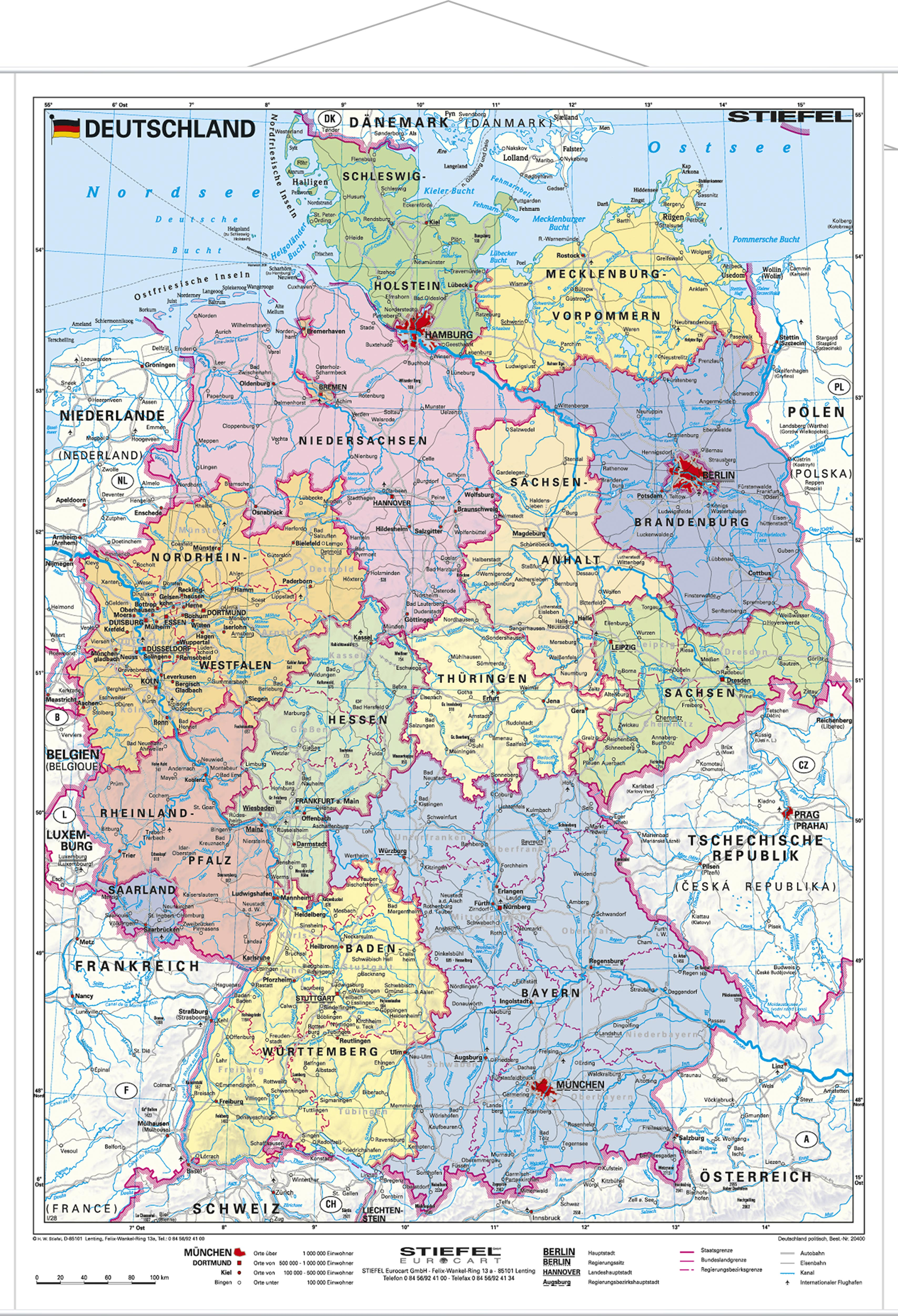 Map Of Deutschland Germany.Political Germany Wall Map 120 X 160cm Germany Wall Maps Europe