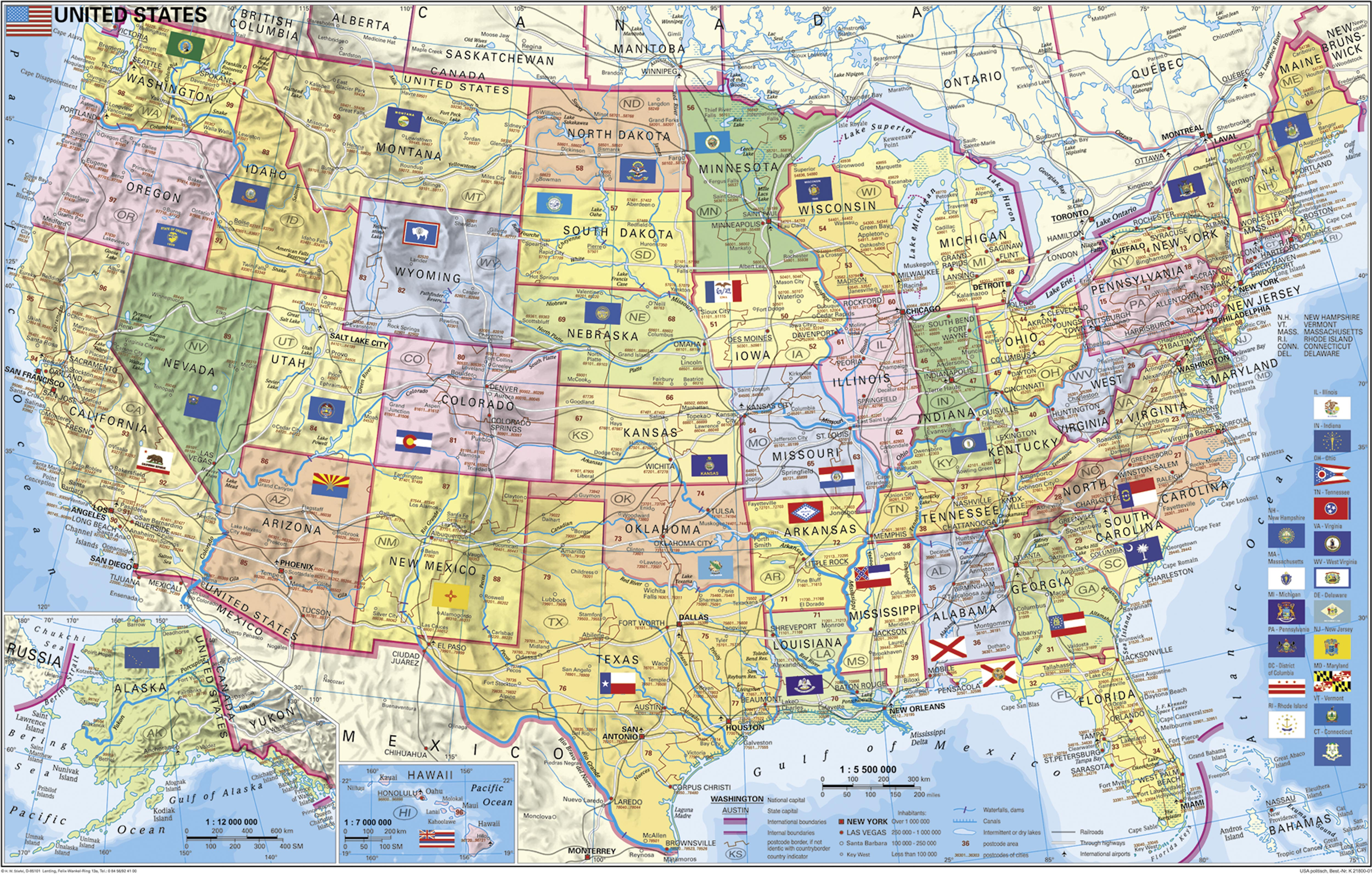 La On Us Map.Postcode Wall Map Usa 95 X 61cm Usa And Us States Wall Maps