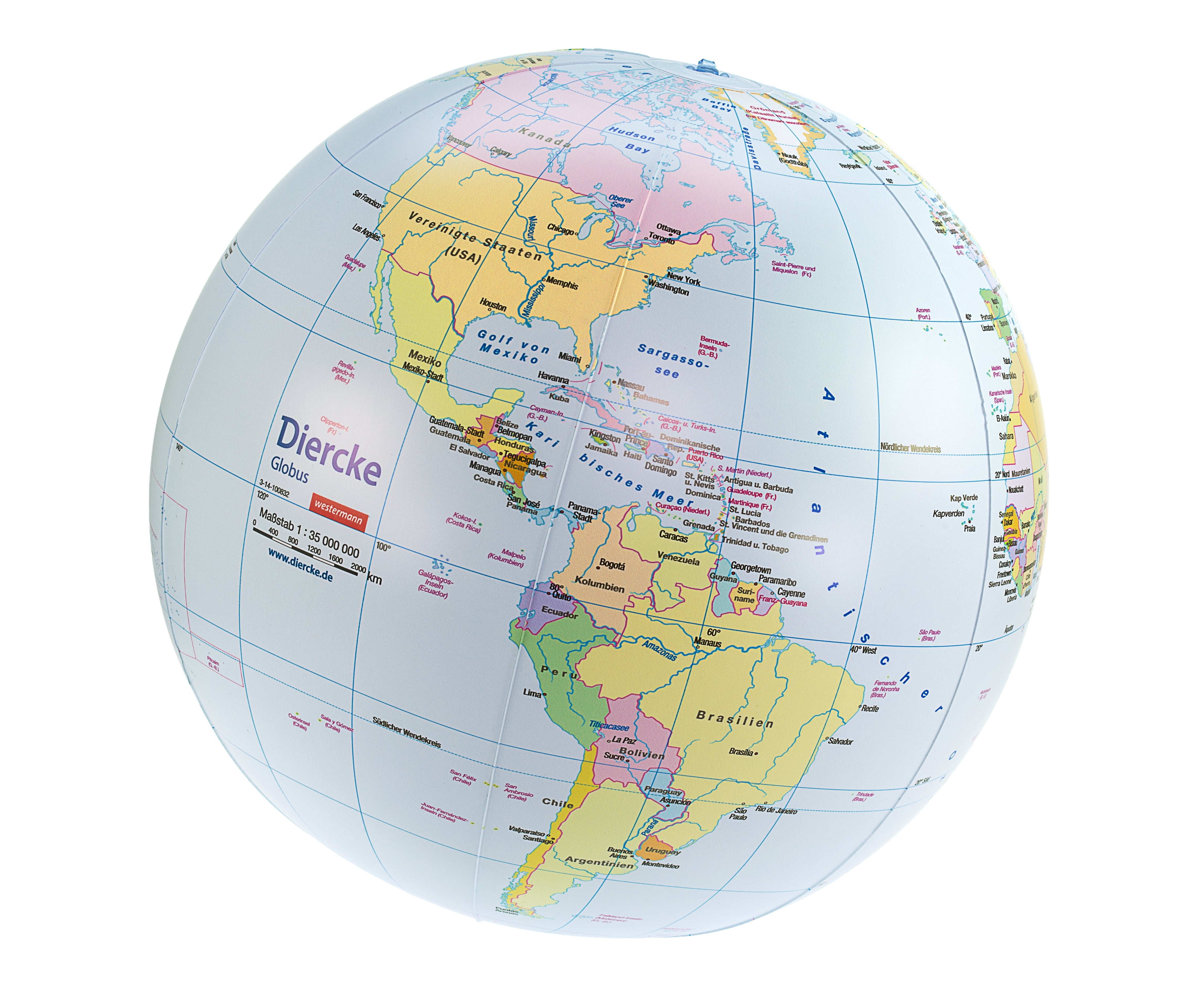 Inflatable Globe World Map.  Inflatable political Globe 16 inch german Globes Geo Kids World