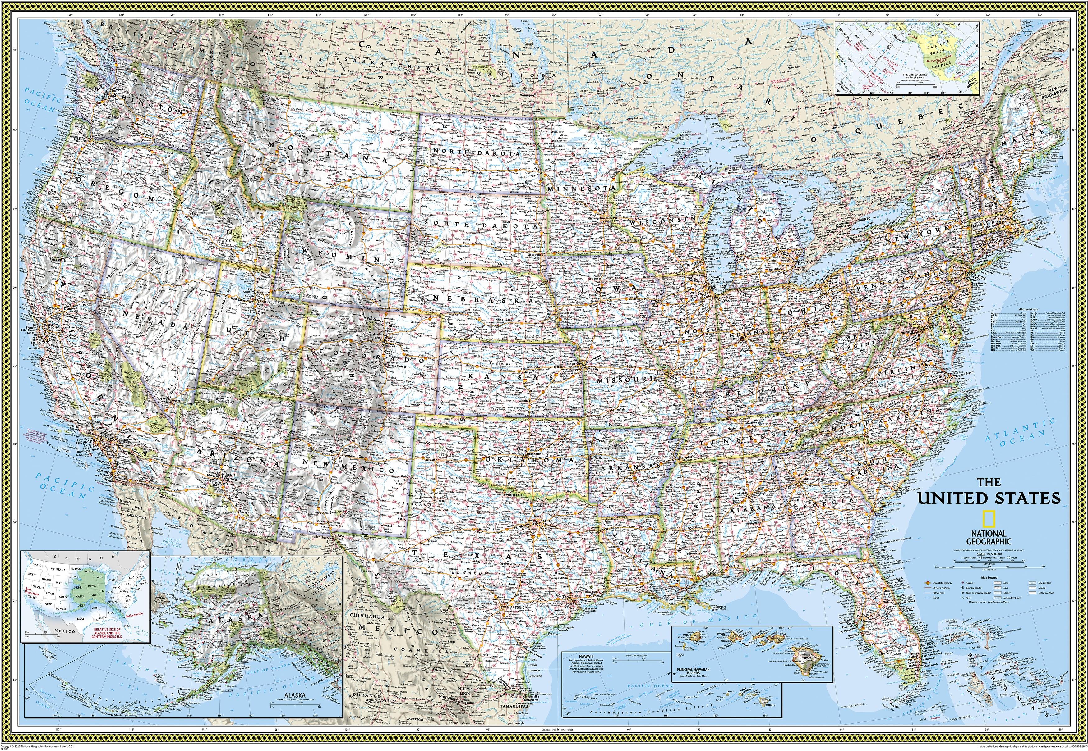 Top Qualitat Usa Landkarte Us Karte Poster Von National Geographic