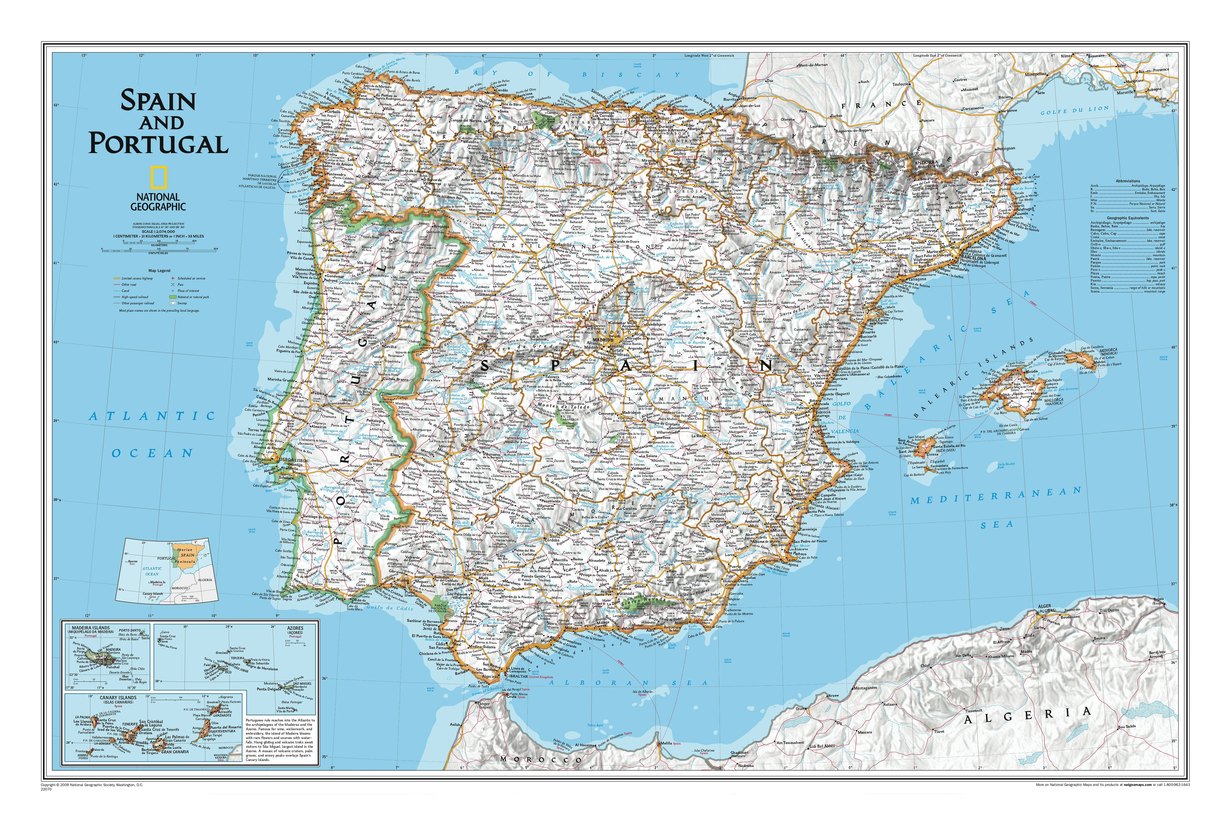 Map Of Spain Mountains.Spain Portugal Wall Map 84 X 56cm