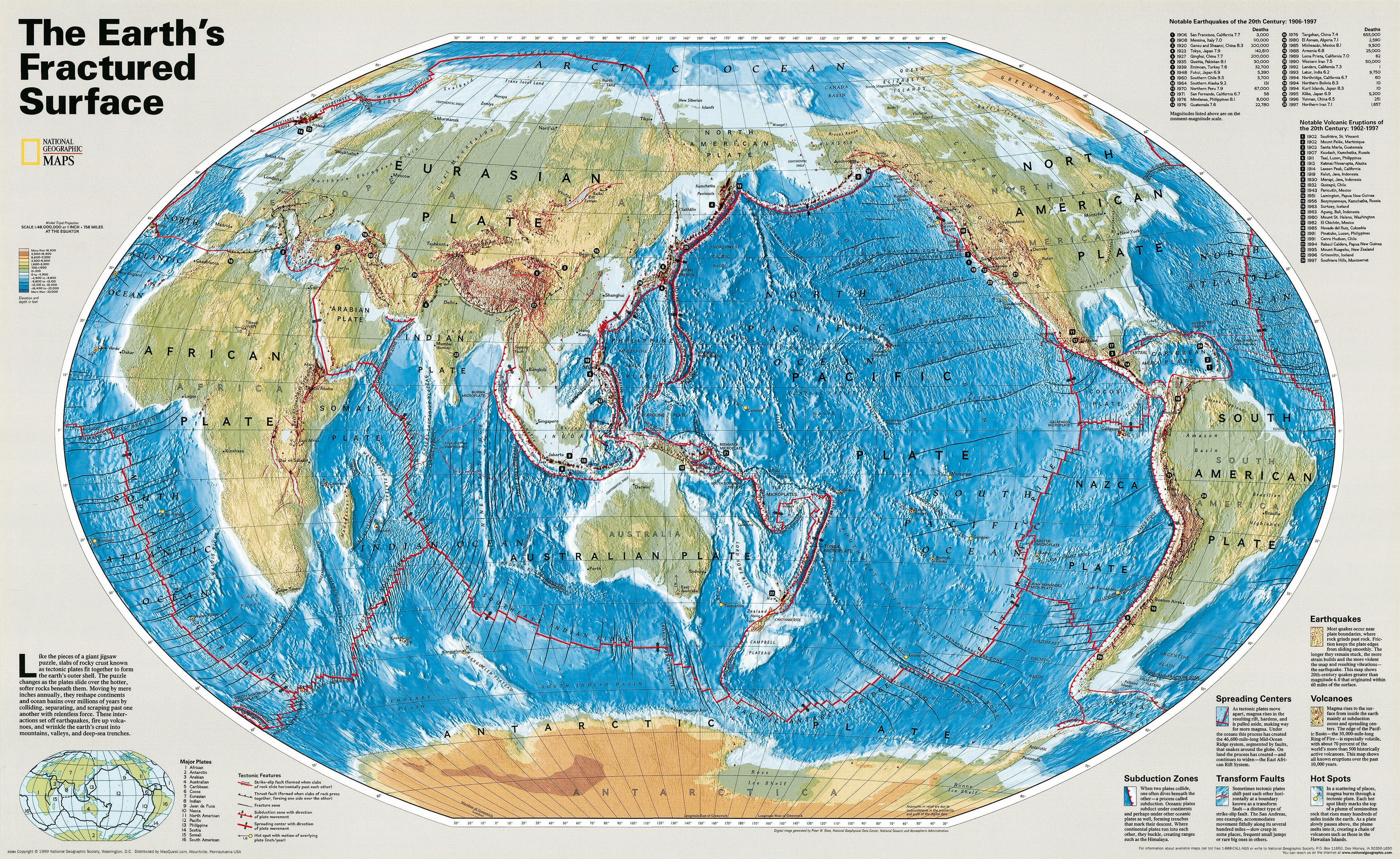 Authentic World Map.The Earths Fractured Surface World Maps National Geographic Maps