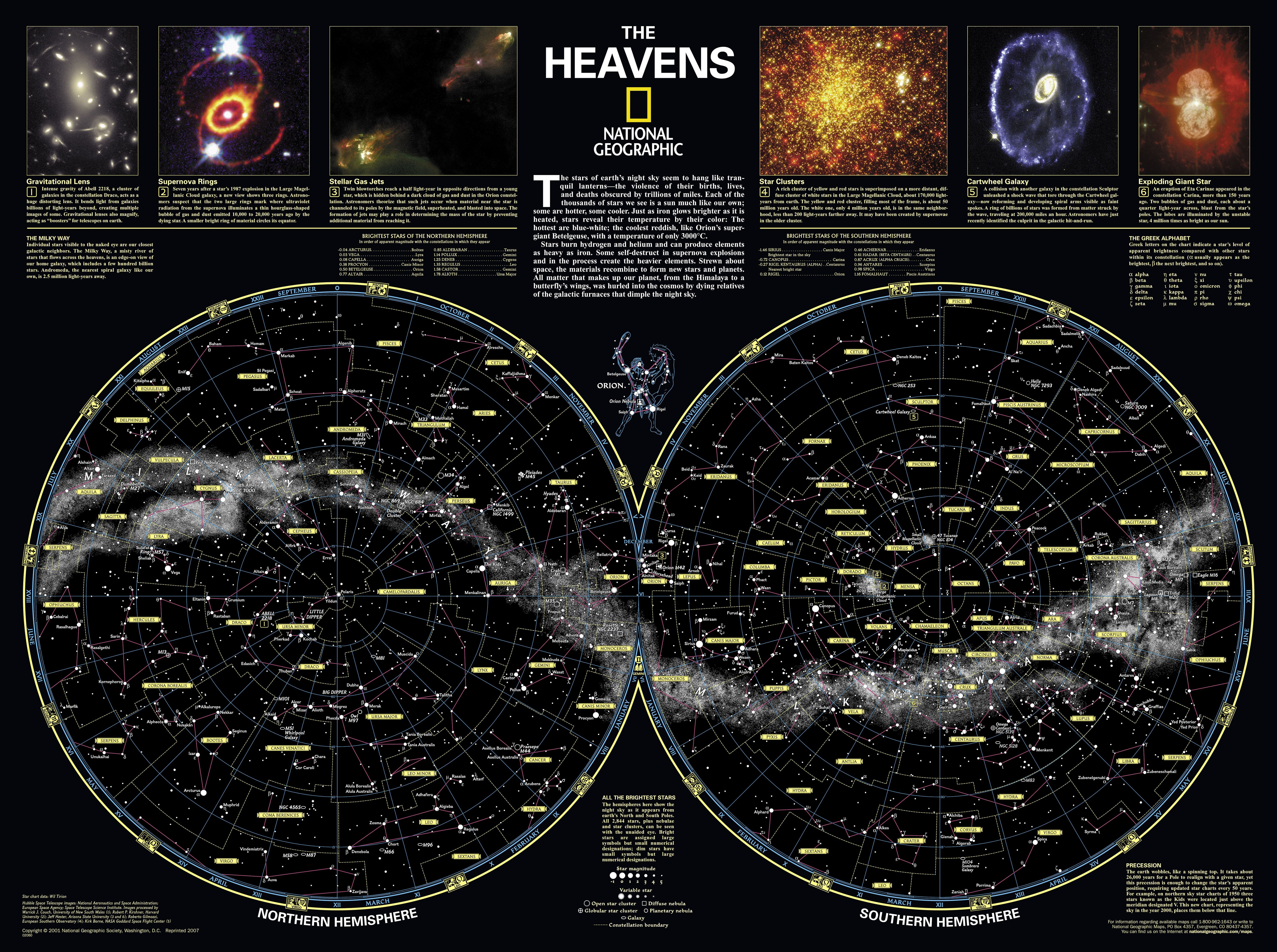 The Heavens National Geographic Universe Maps National - Constellation wall map
