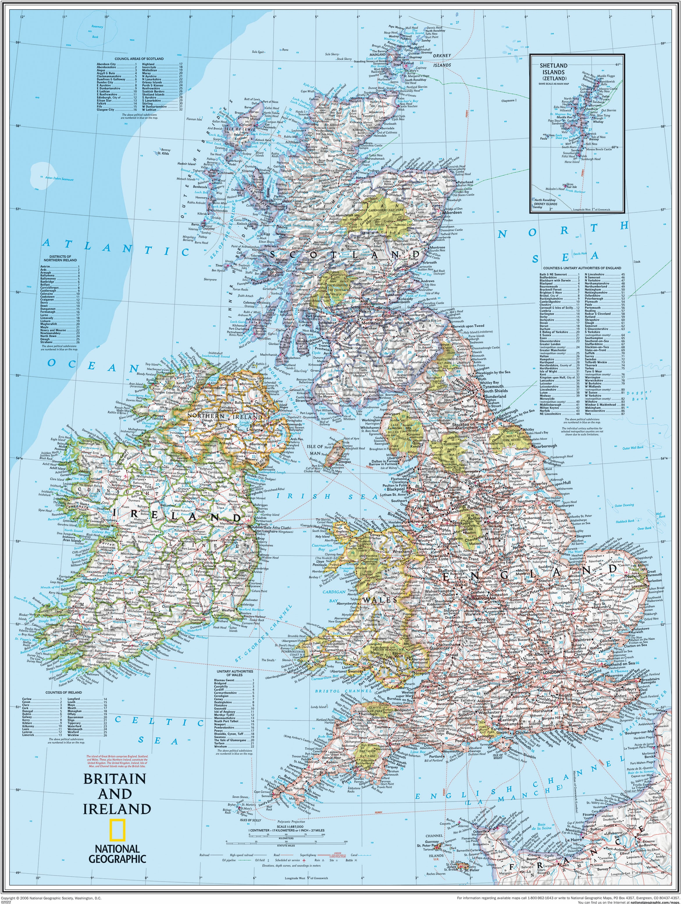 Britain And Ireland Map.Great Britain And Ireland Wall Map Westeurope Countries Europe