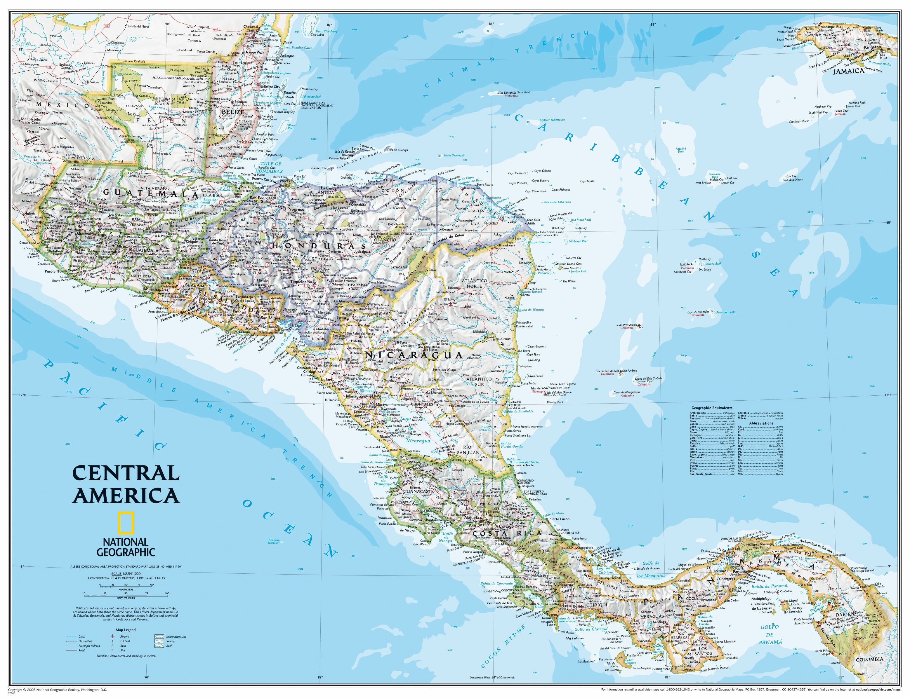Central America Wall Map Central and Southamerica Wall Maps