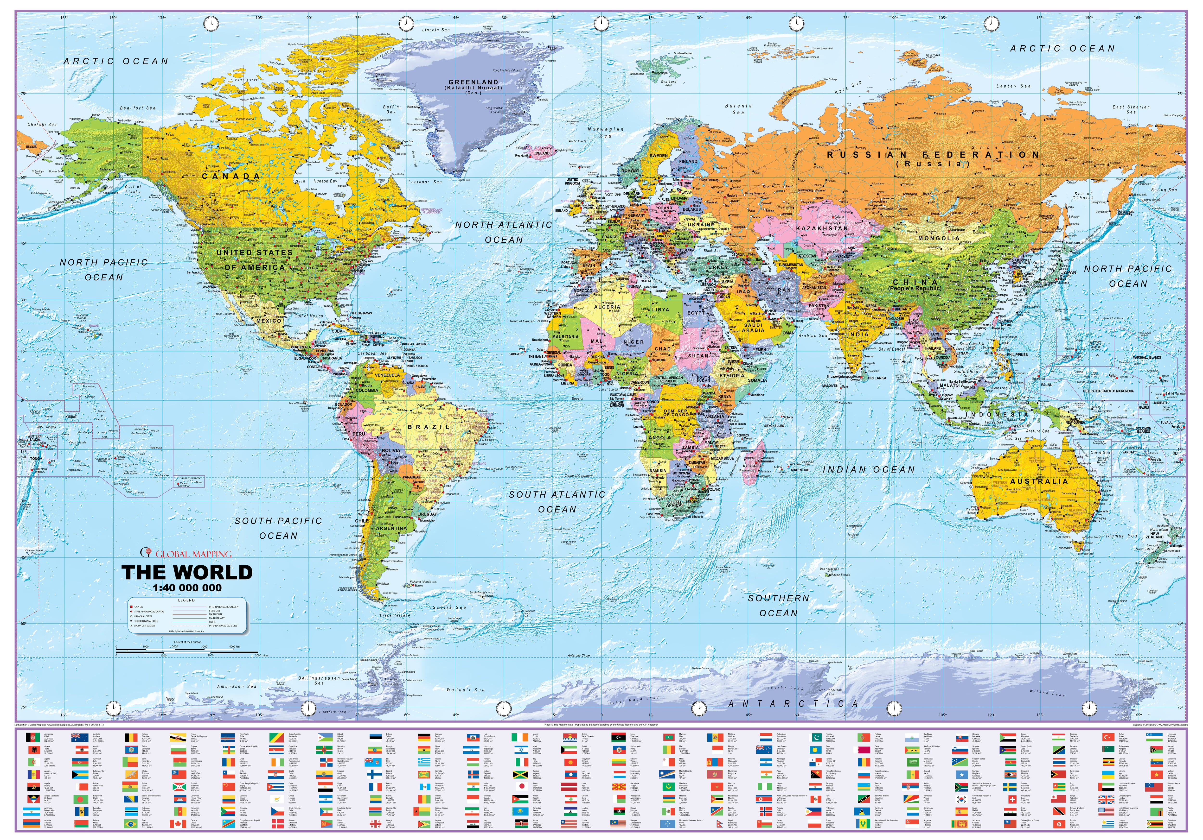 Map Of The World Online.Political World Map With Flags 1 40 Mio