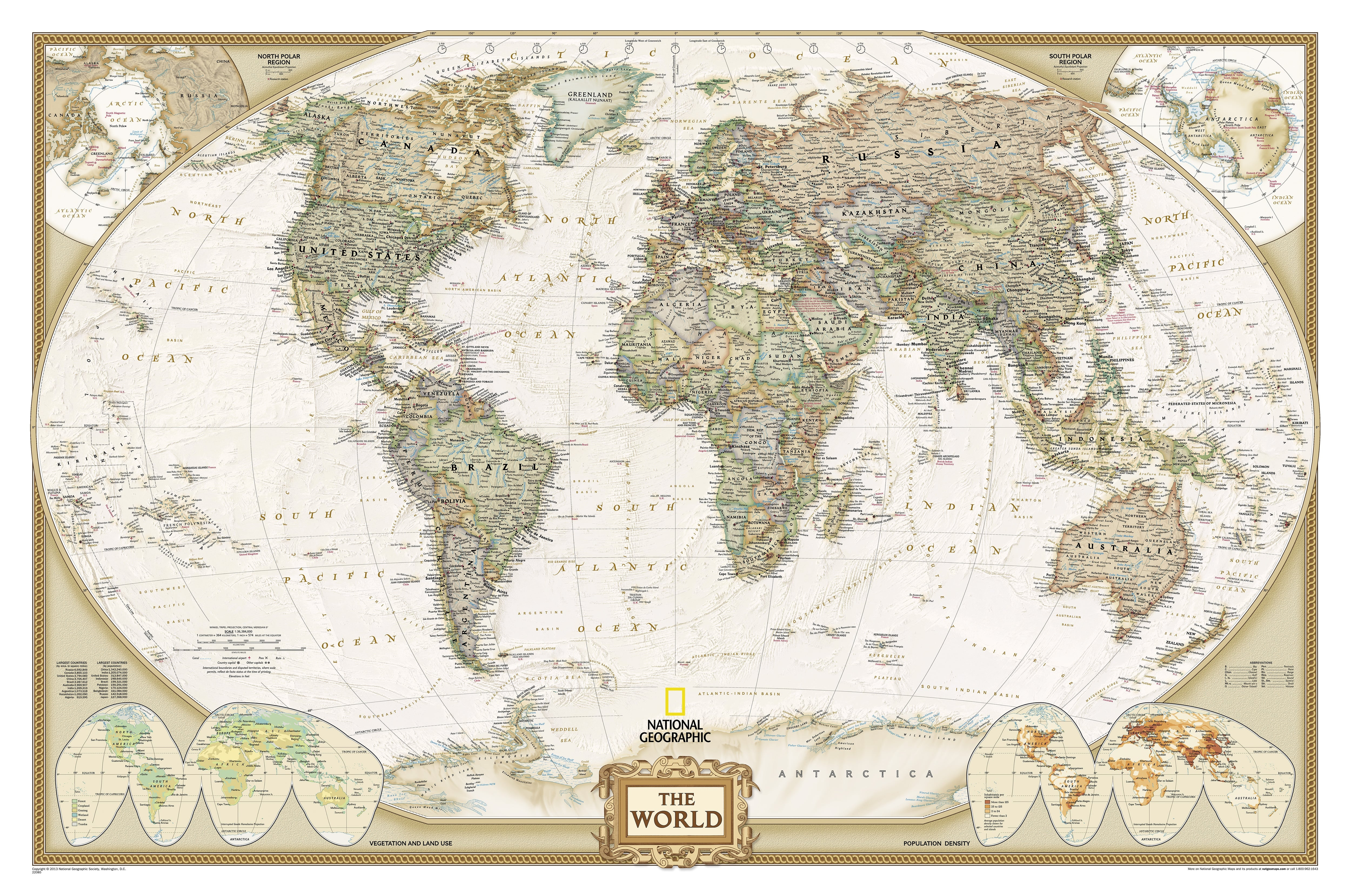 National geographic world map poster antique tones wall map gumiabroncs Gallery