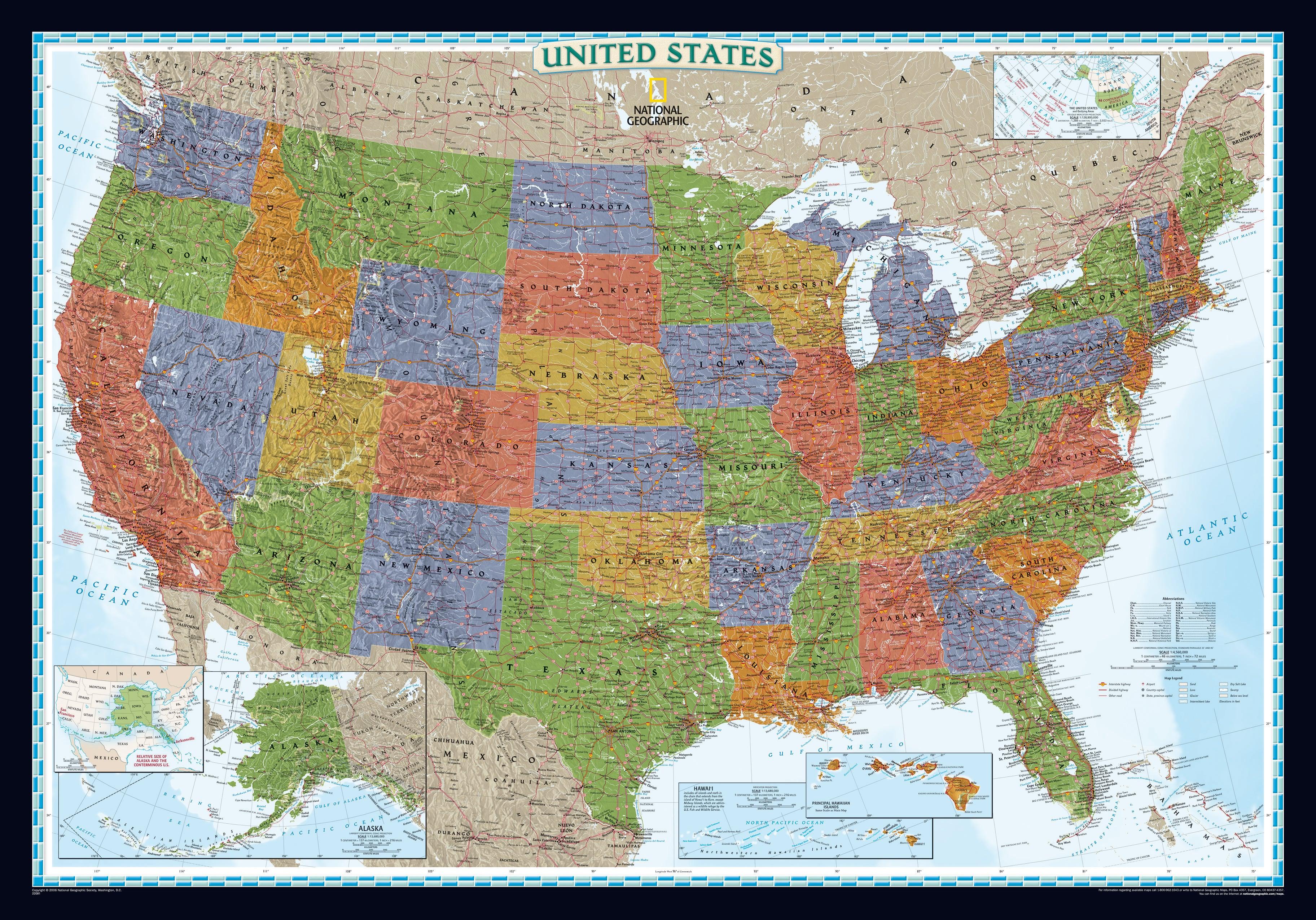 Großzügig Farbige Karte Von Nordamerika Galerie ...