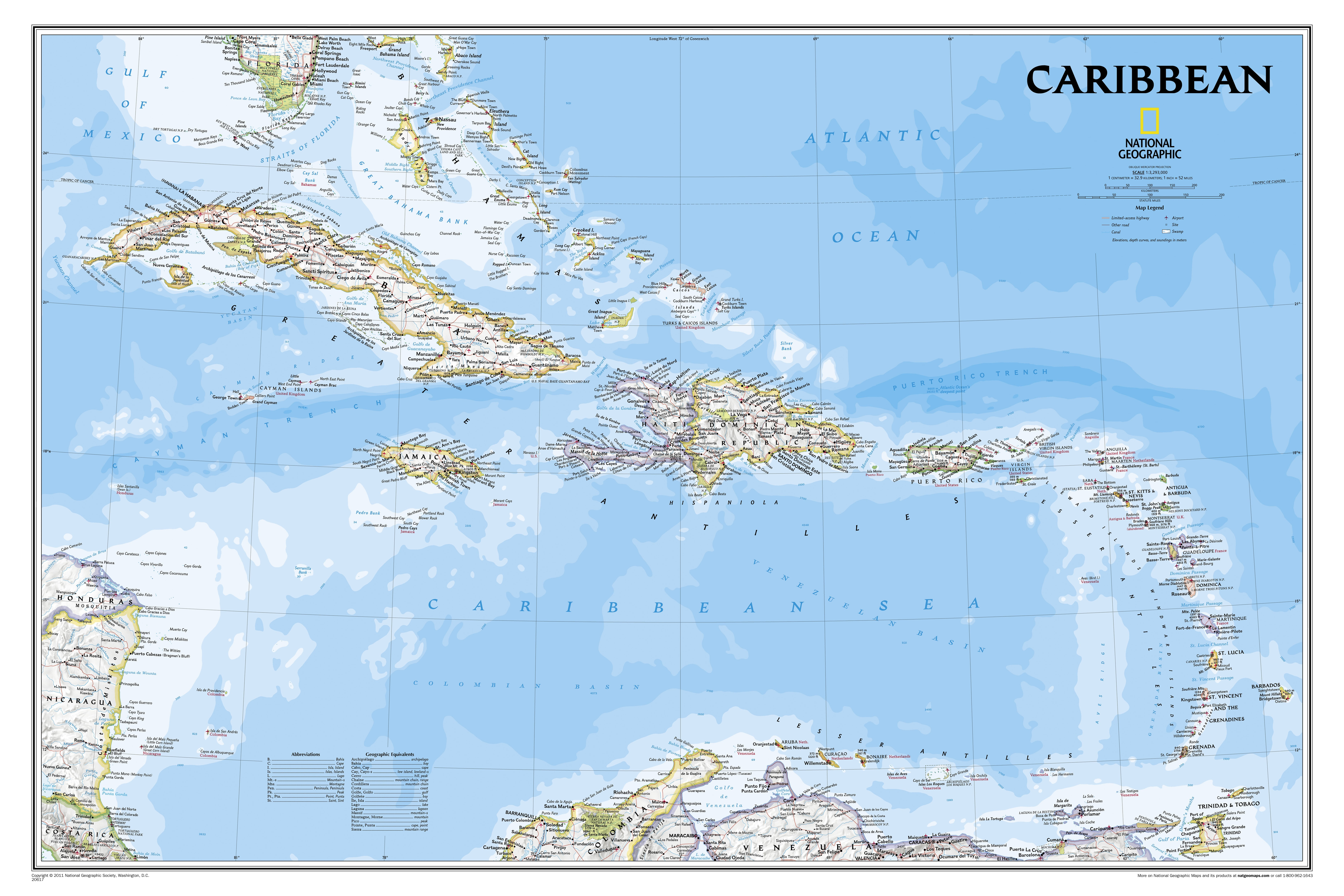 Caribbean West Indian Islands Wall Map 91 x 61cm
