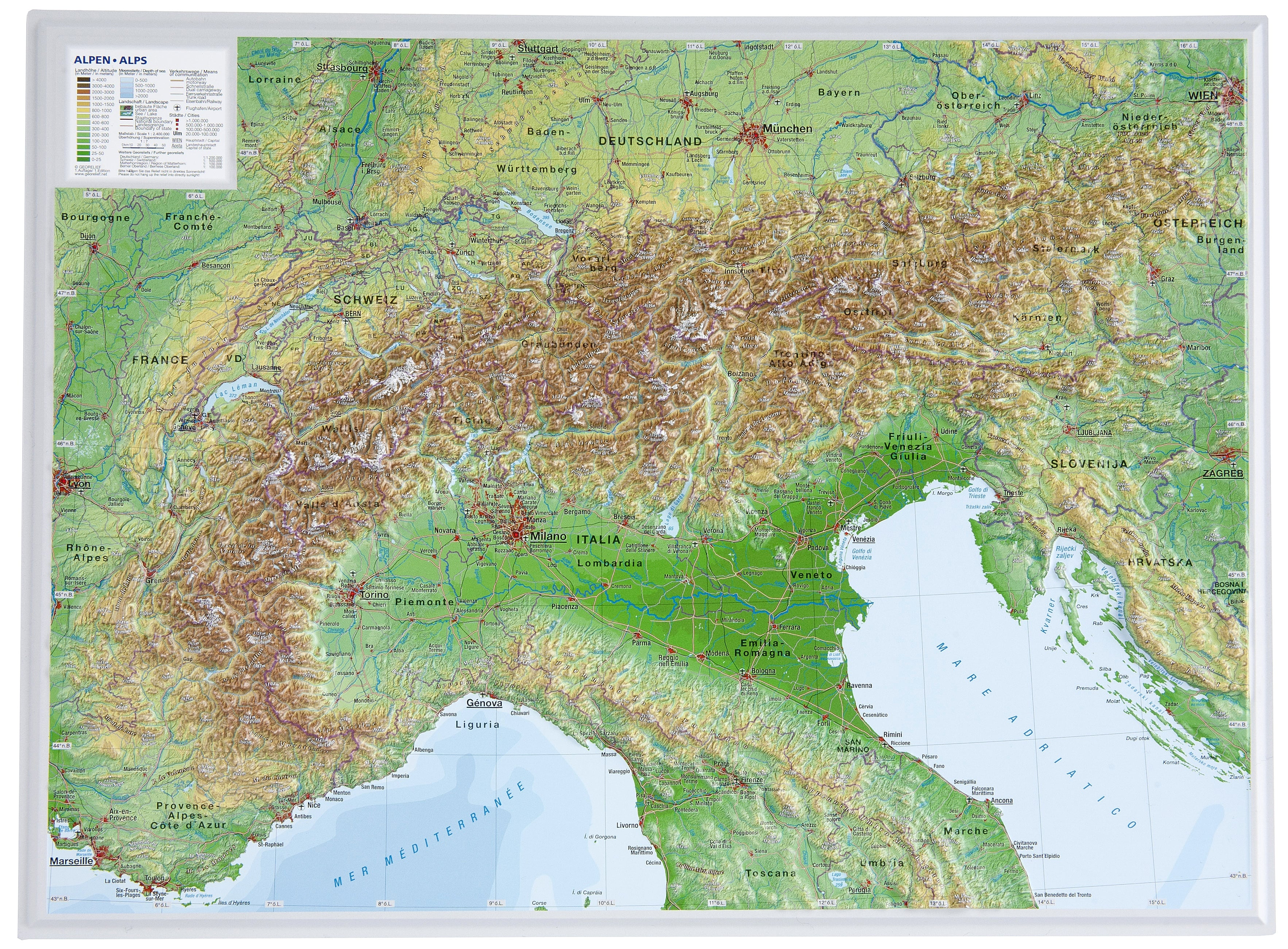 Map Of Germany 3d.3d Raised Relief Map Alps Small 39 X 29cm Westeurope Countries