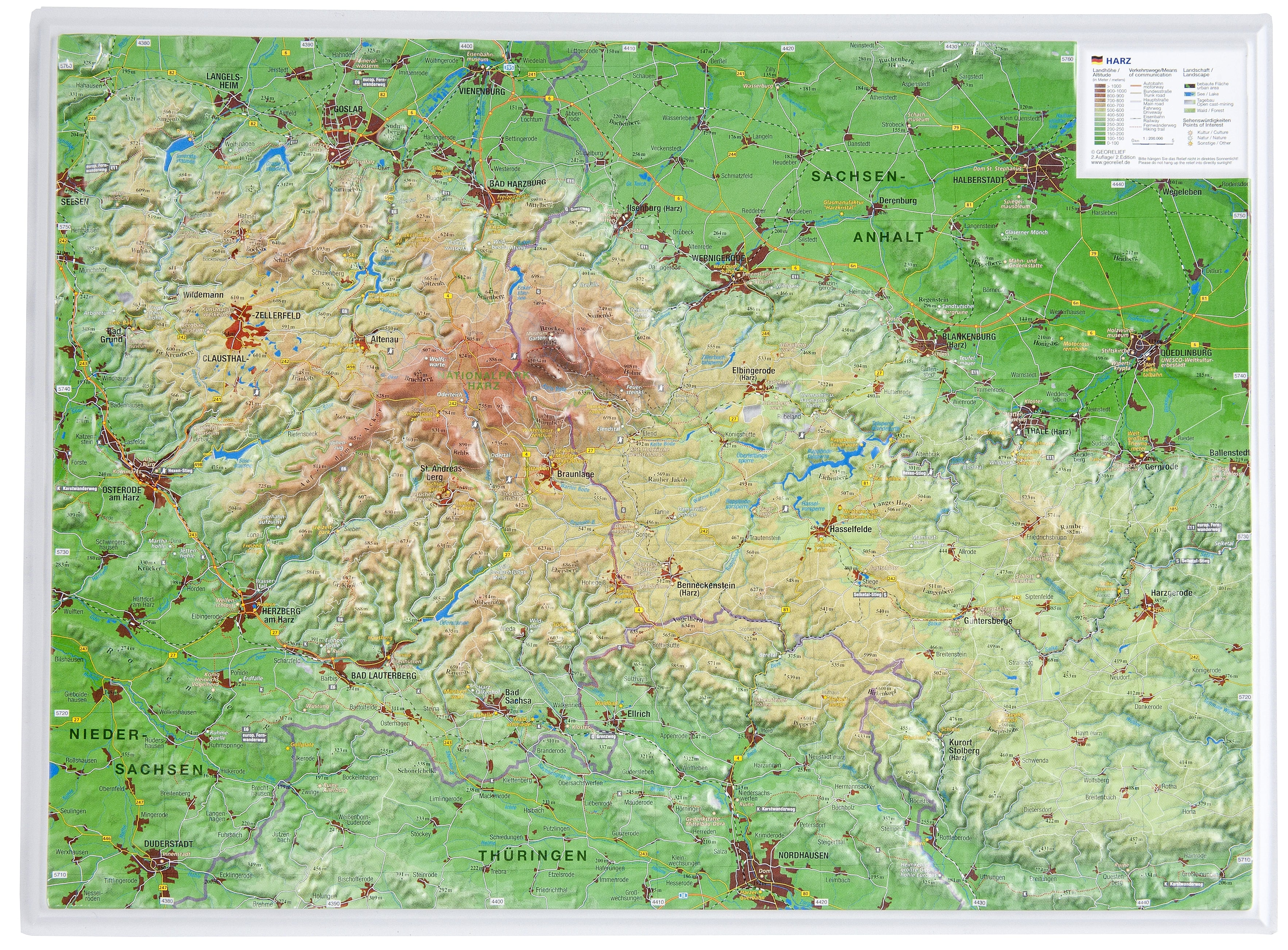 Map Of Germany Mountains.3d Raised Relief Map Harz Mountains
