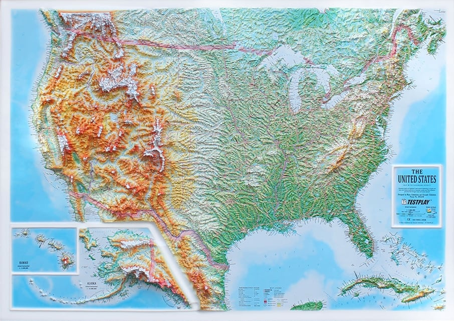 3D Raised Relief Map USA XL
