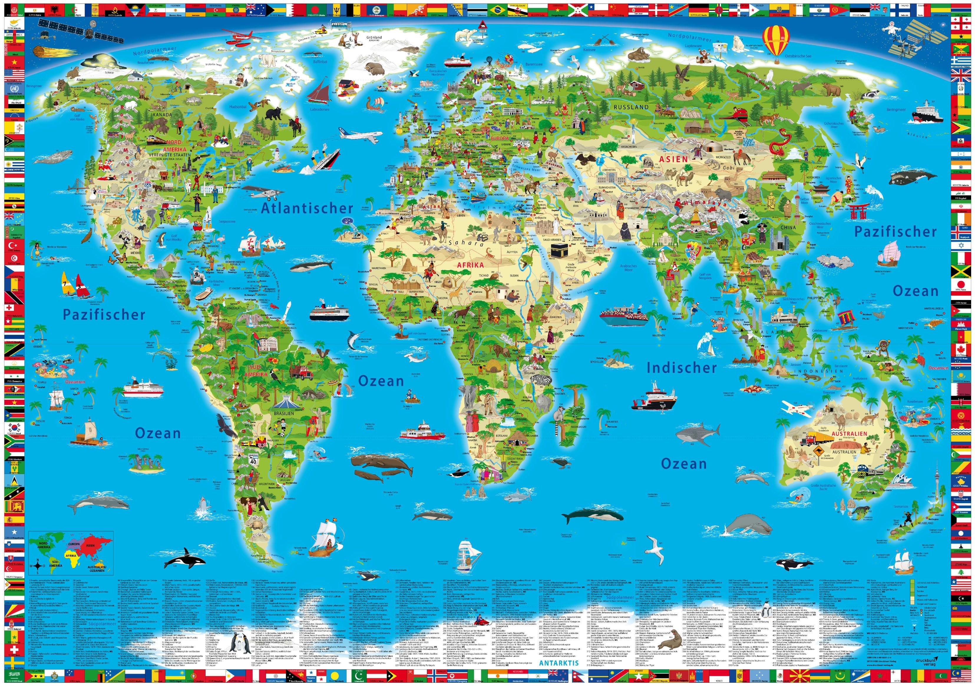 weltkarte poster kinder Illustrierte Kinderweltkarte als Poster 138 x 98cm   Karten für  weltkarte poster kinder