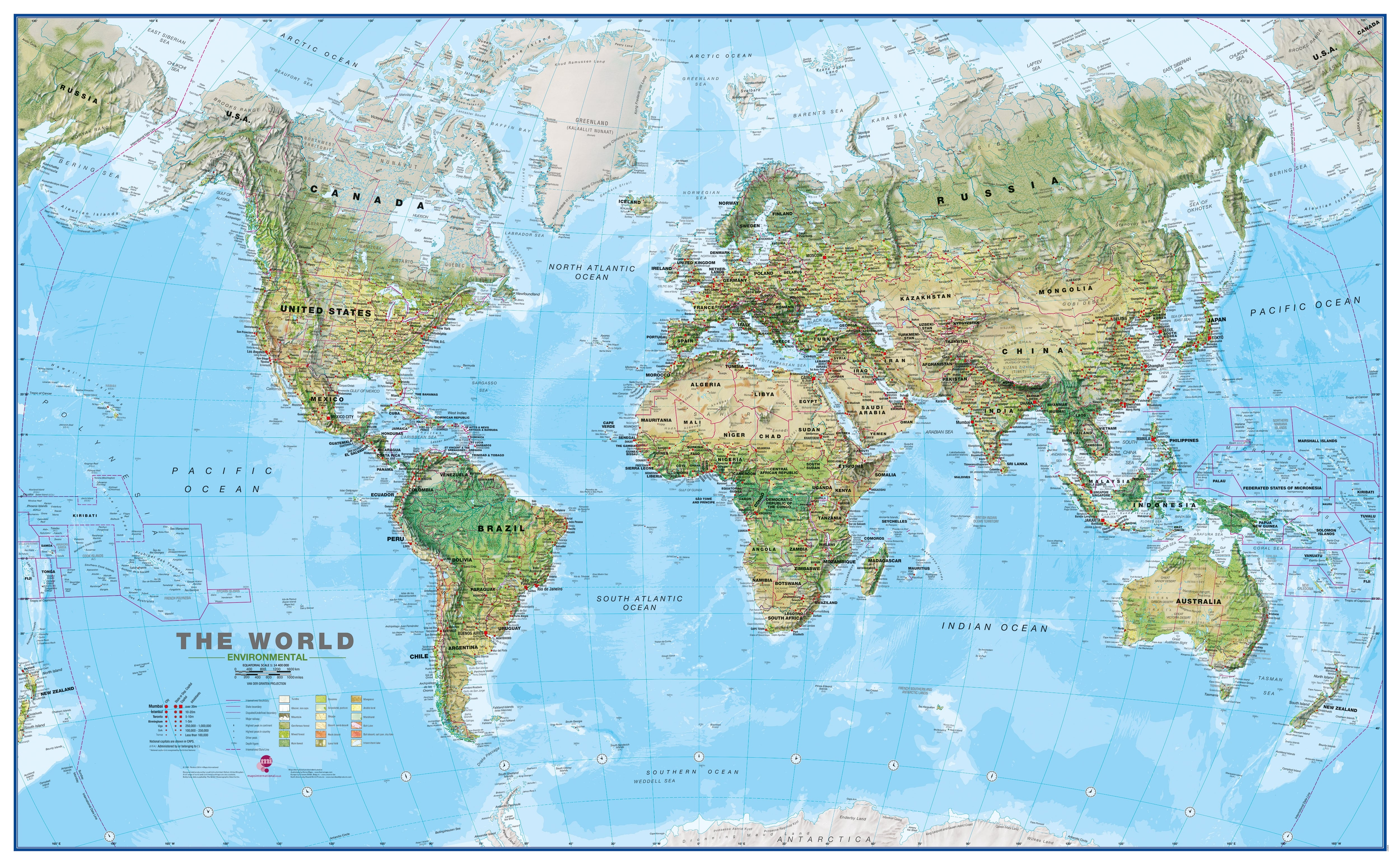 Whole Map Of The World.Physical World Map English Xxl 275 X 170cm
