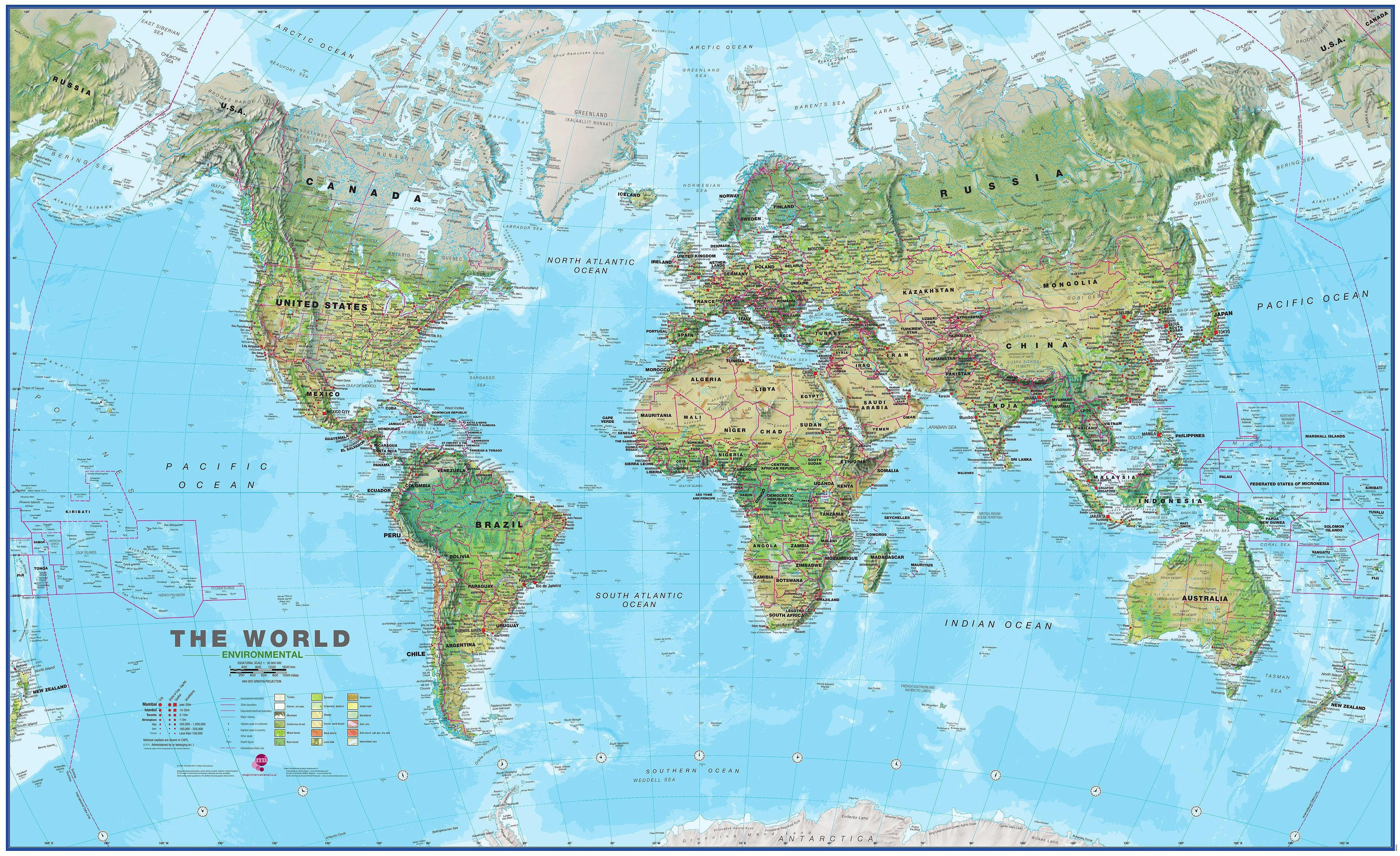 Most Detailed World Map.Physical World Map Environmental 1 30 Mio 136 X 82cm Physical