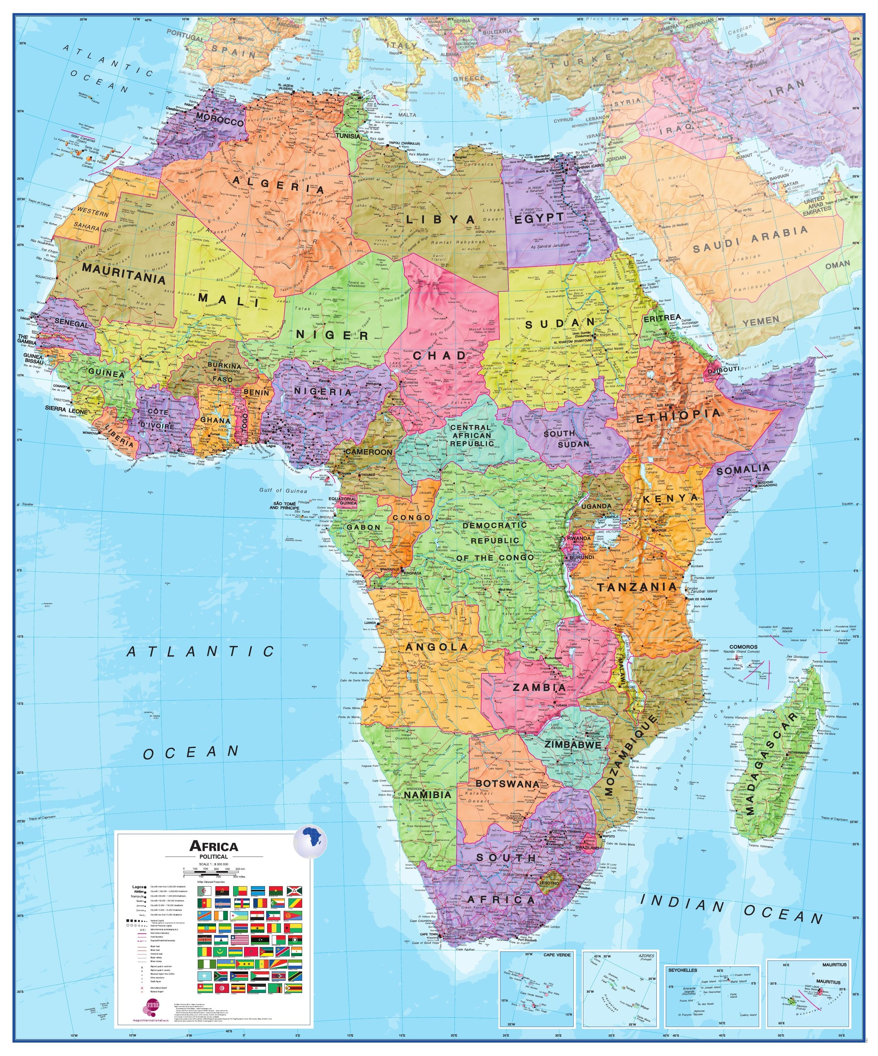 Political Africa Map Africa Africa Wall Maps