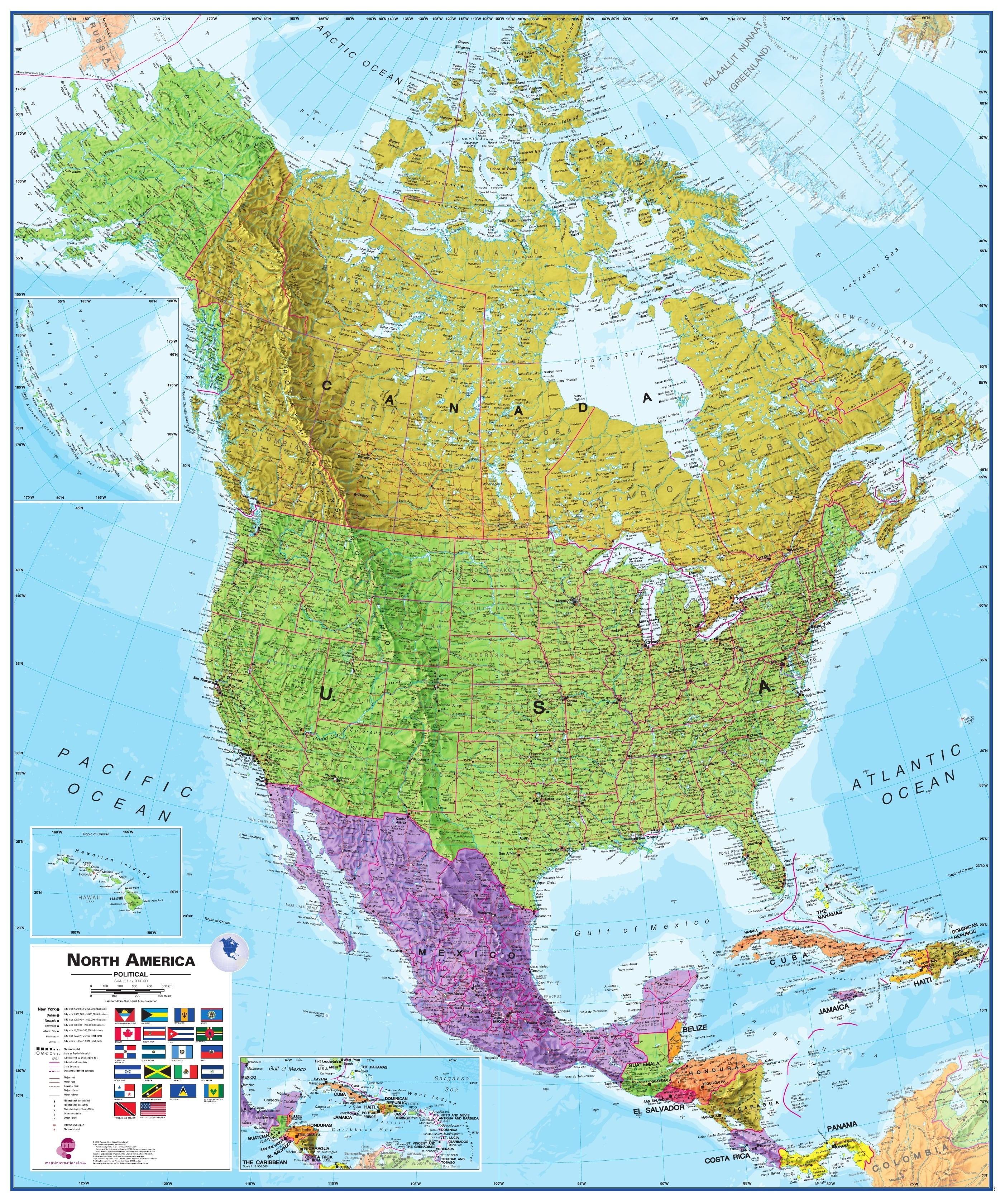 Politisk Kort Over Nordamerika Nordamerika Nordamerika Vaegkort