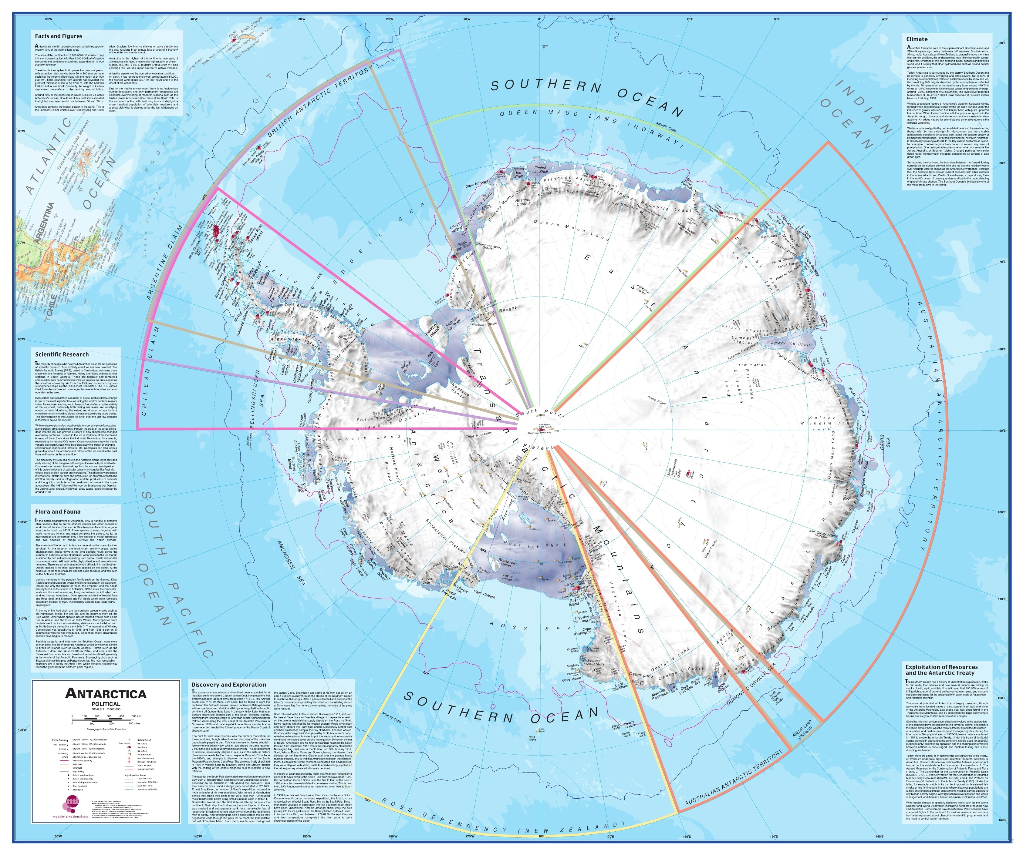 Antarctica South Pole Wall Map Arctic Antarctic Wall Maps - Antarctica maps