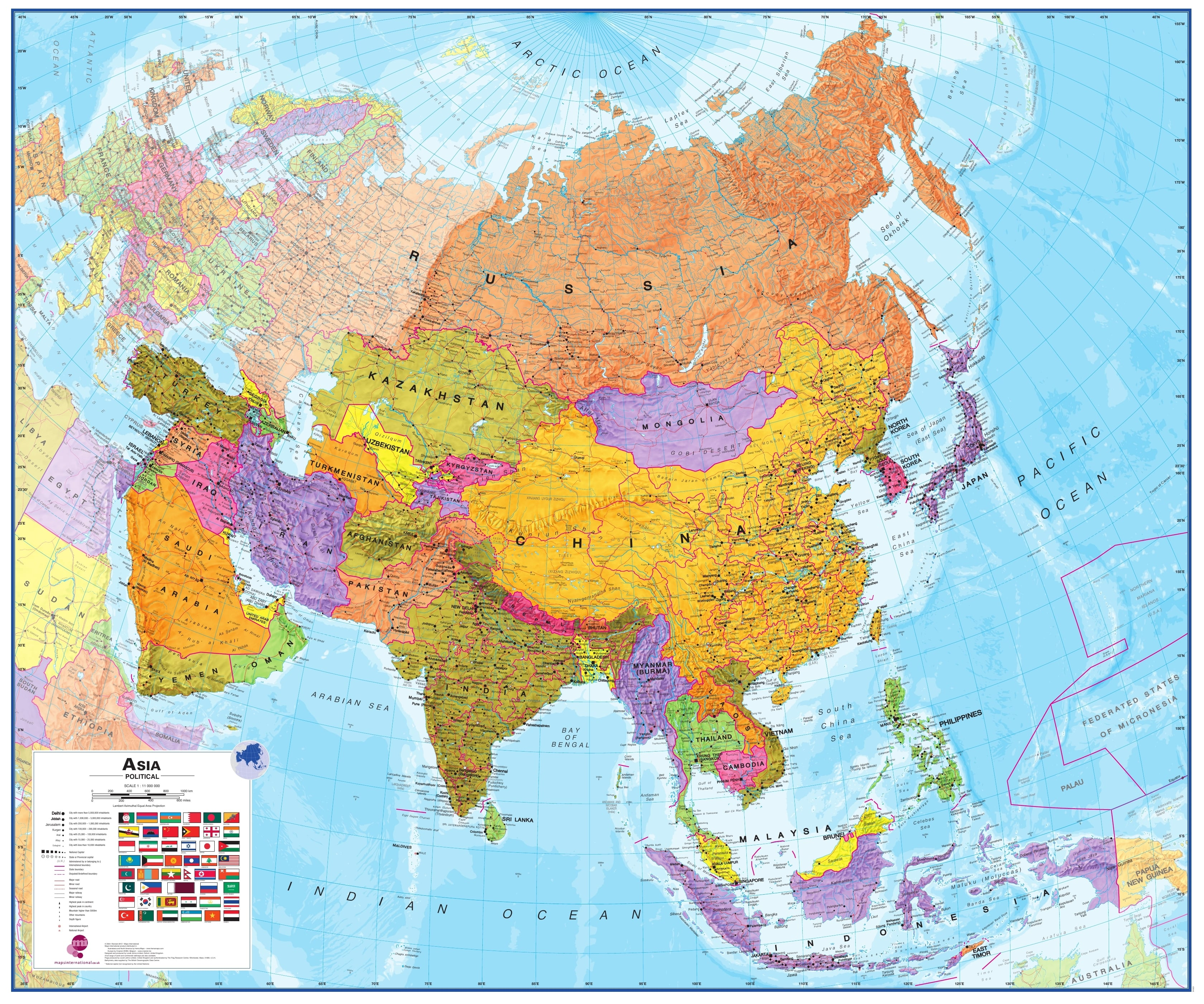 Map Of Asia Hd Image.Political Asia Wall Map 120 X 100cm