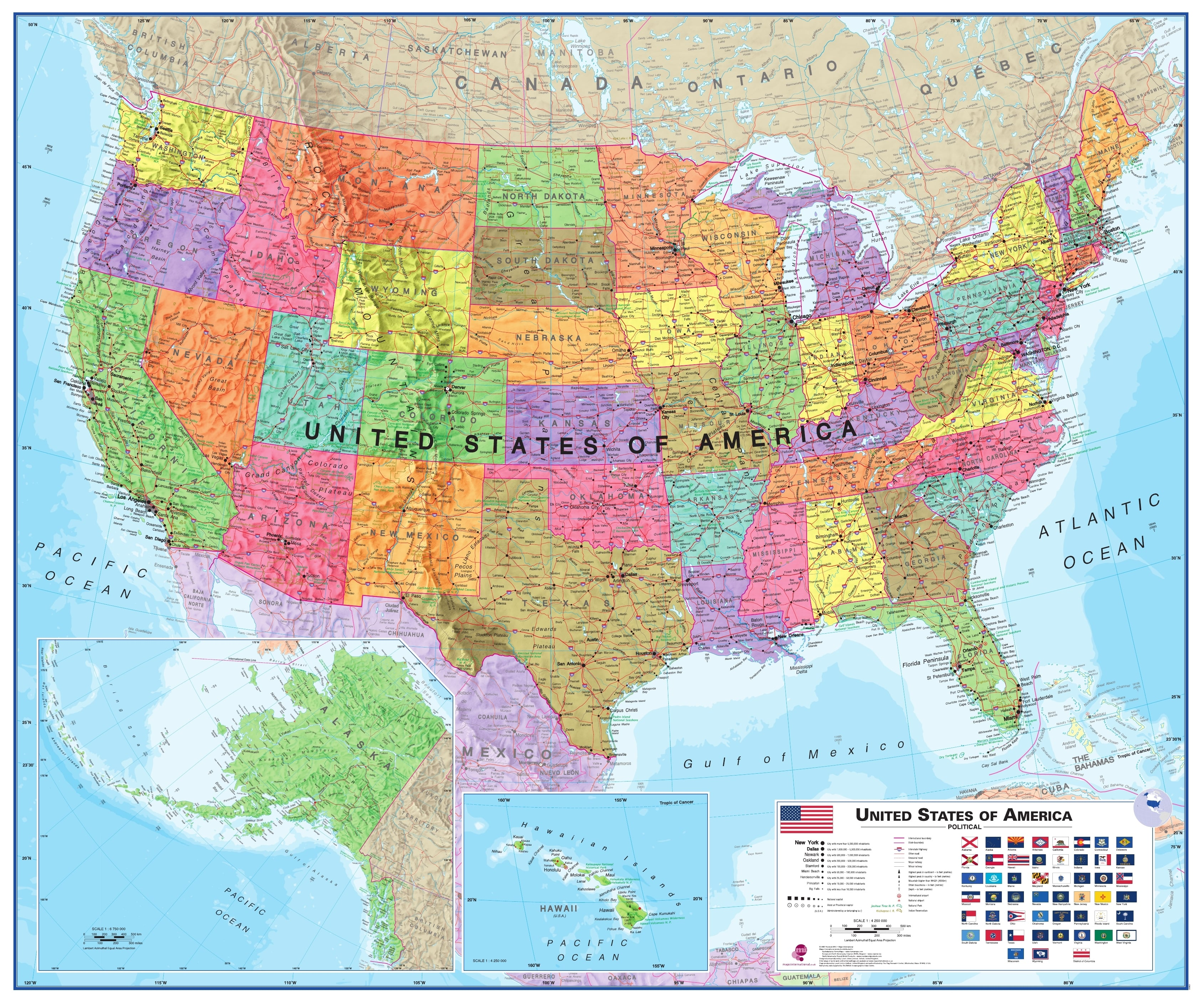 Poster Of Usa Map.Usa Wall Map Political 120 X 100cm Usa And Us States Wall Maps