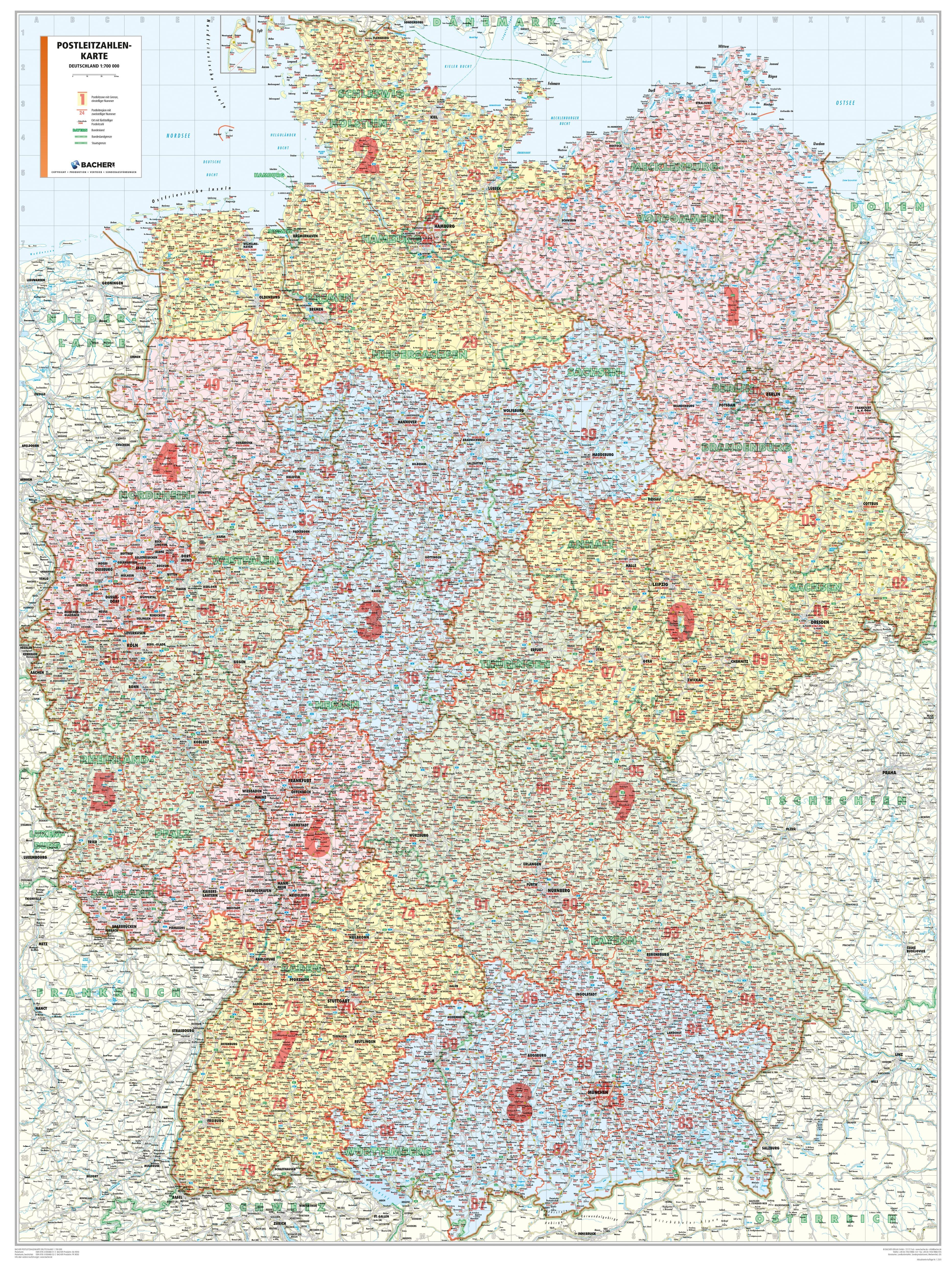 Postnumre I Tyskland Plz 98 X 129cm Postnummer Kort Tyskland