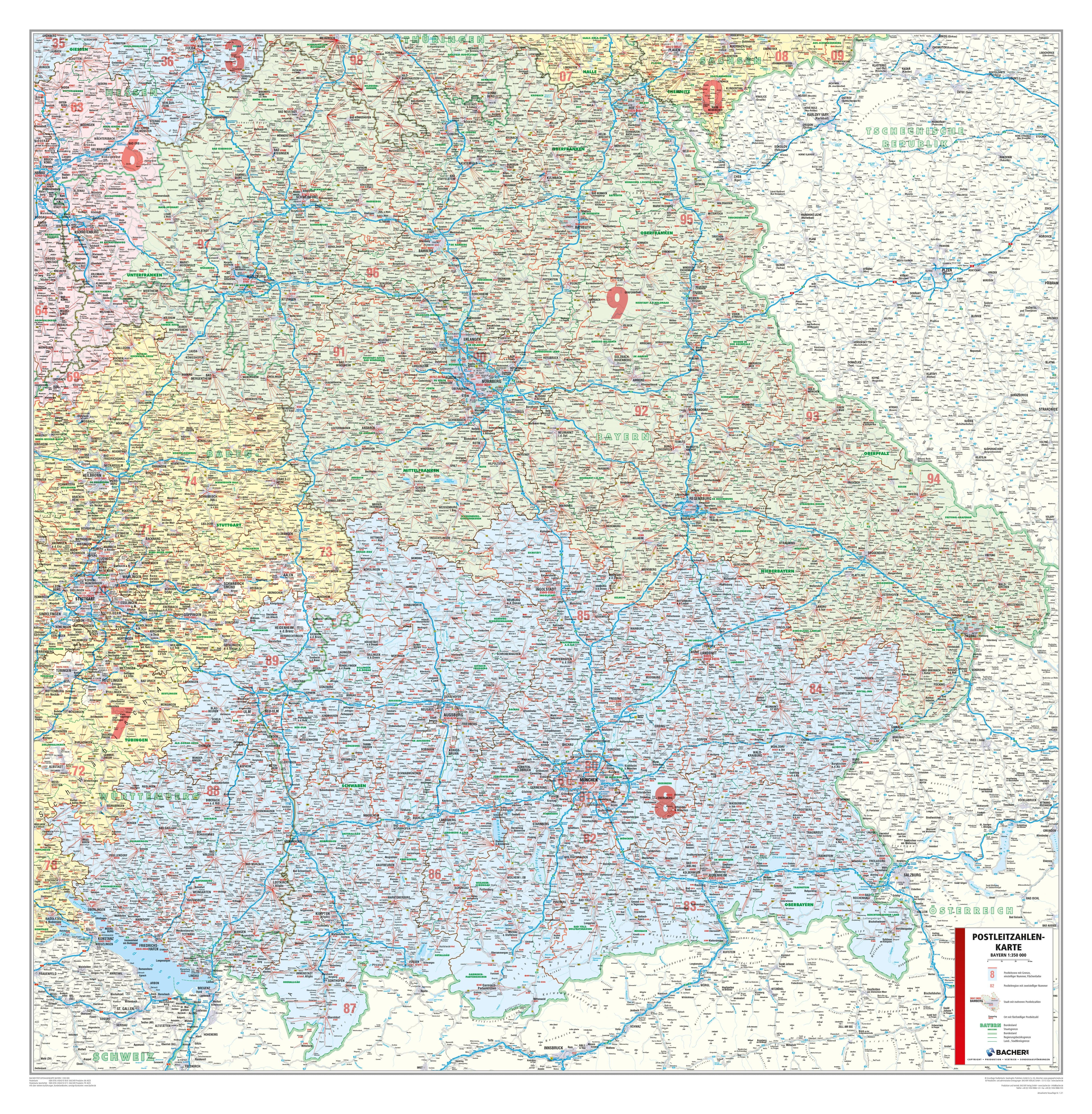 plz bayern karte Postleitzahlenkarte Bayern   Deutschland   Postleitzahlenkarten plz bayern karte