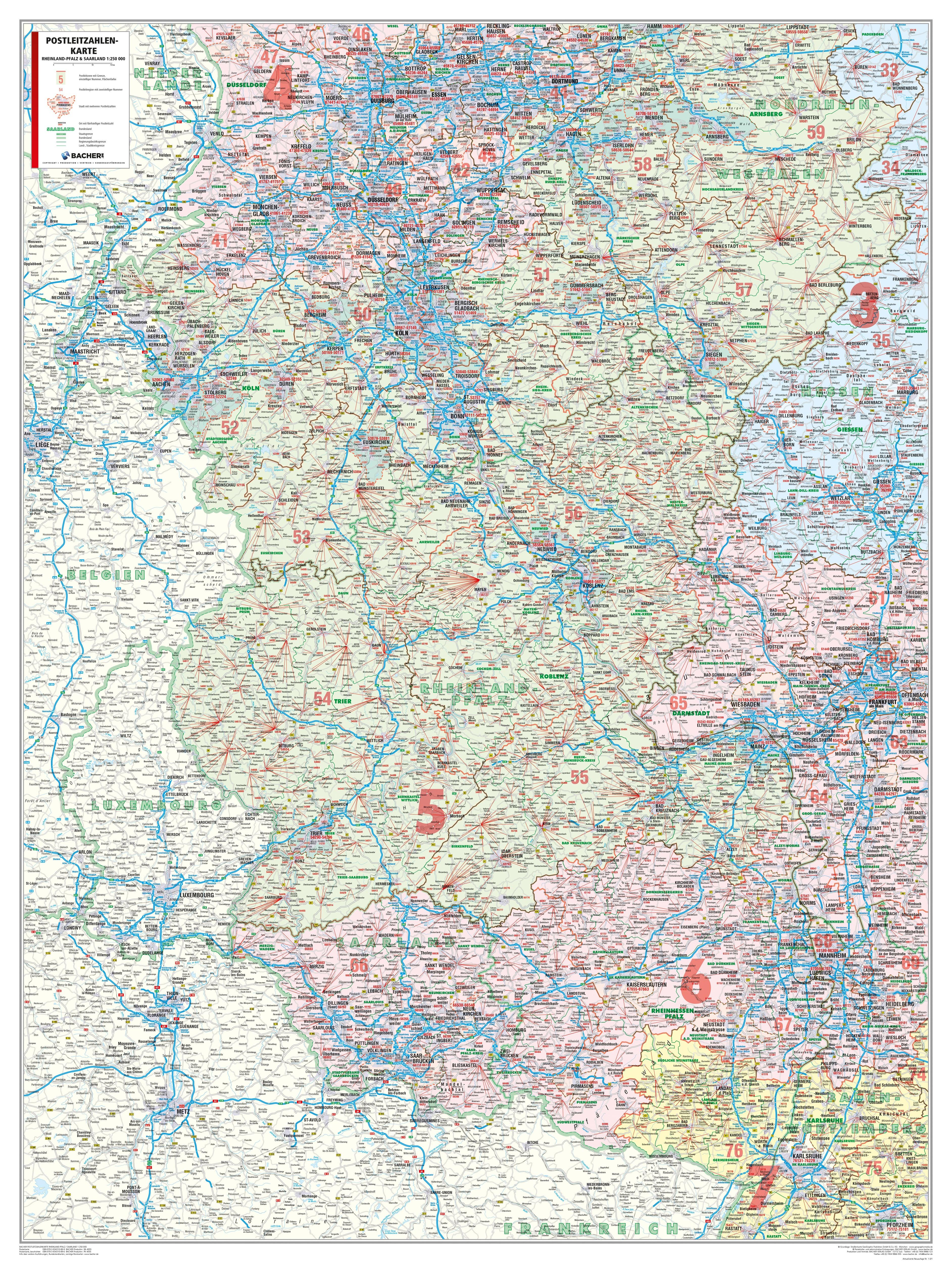 Postleitzahlenkarte Rheinland Pfalz Saarland 98 X 130cm