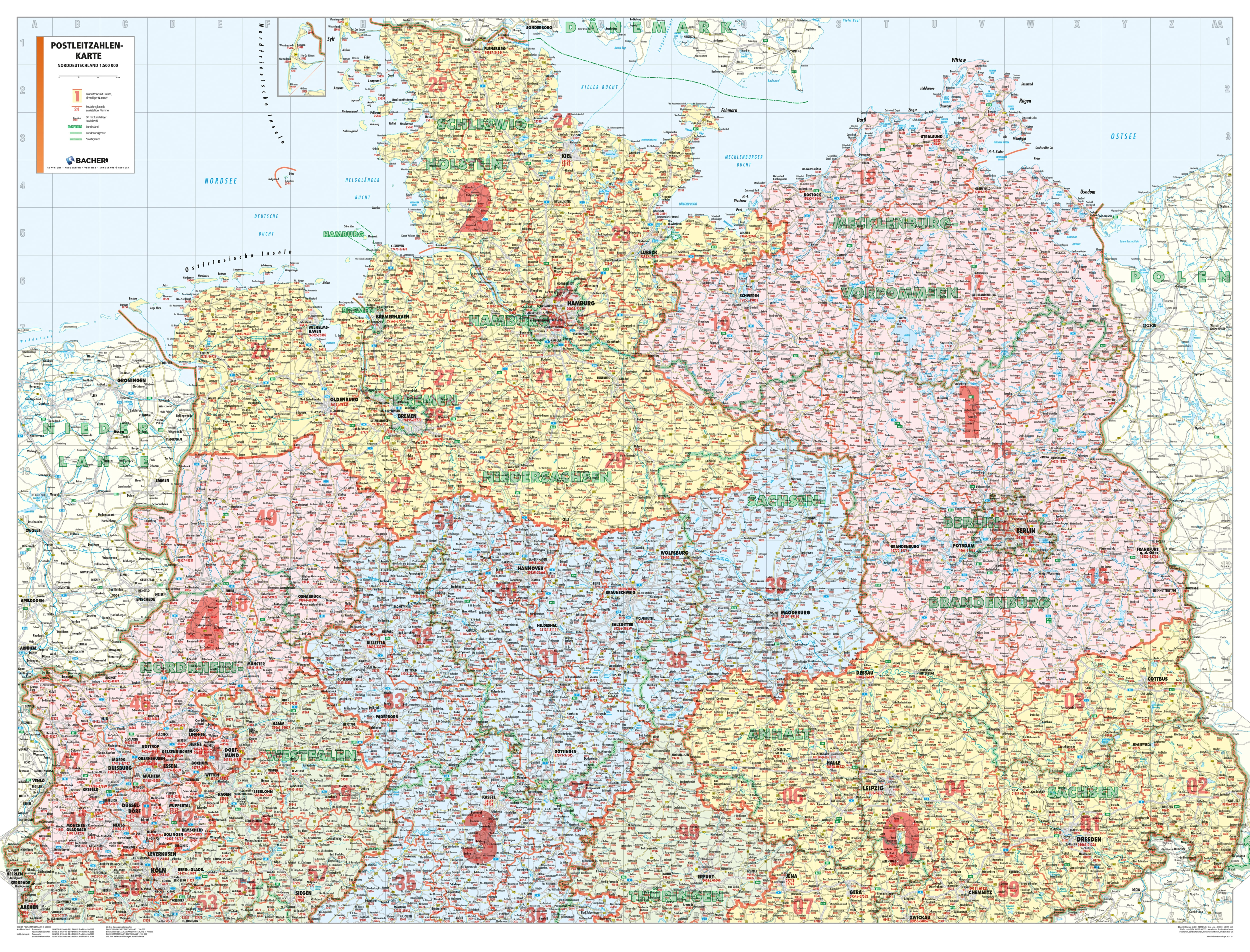Postcode Wall Map Northern Germany
