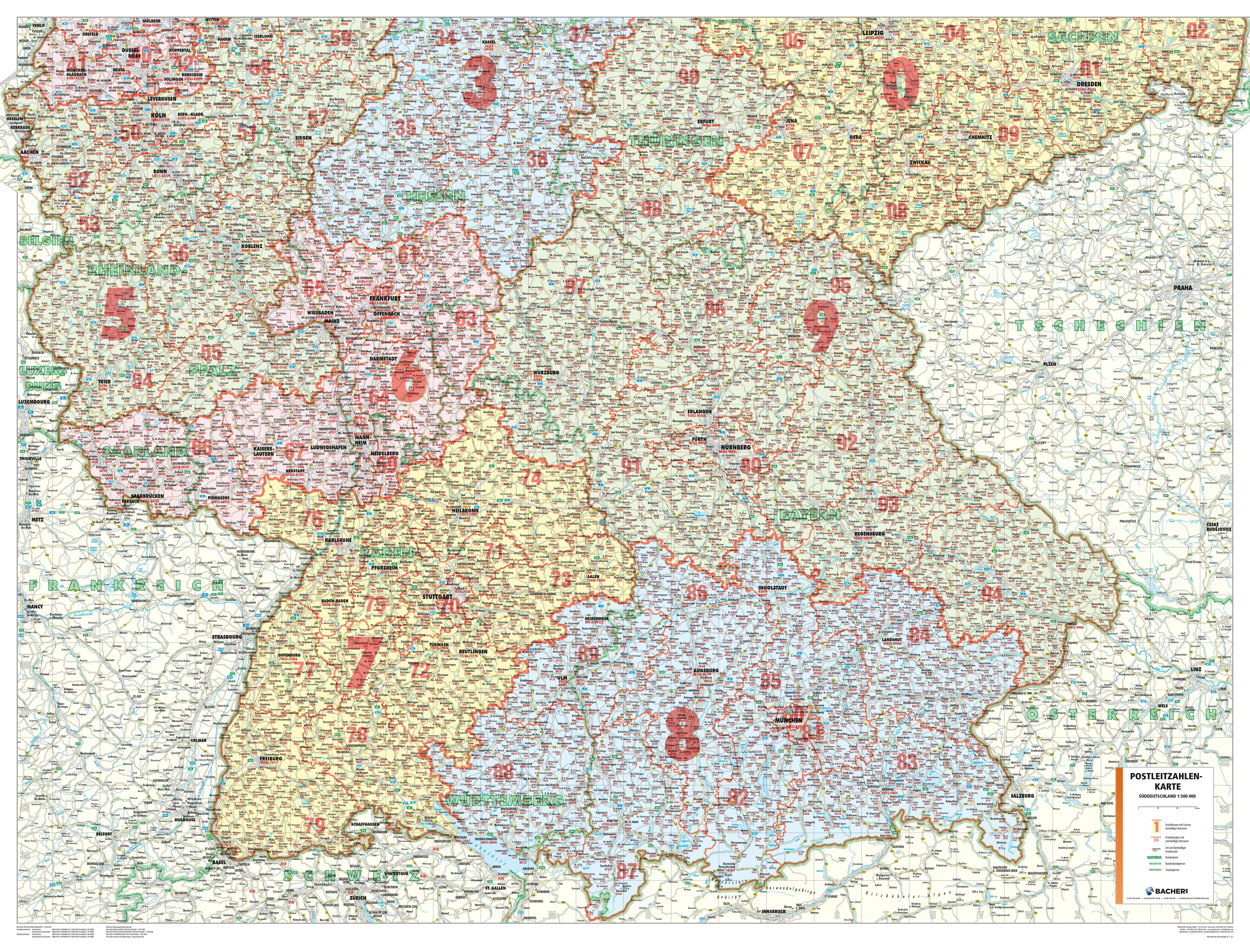 Postleitzahlen München Karte.Postleitzahlenkarte Süddeutschland