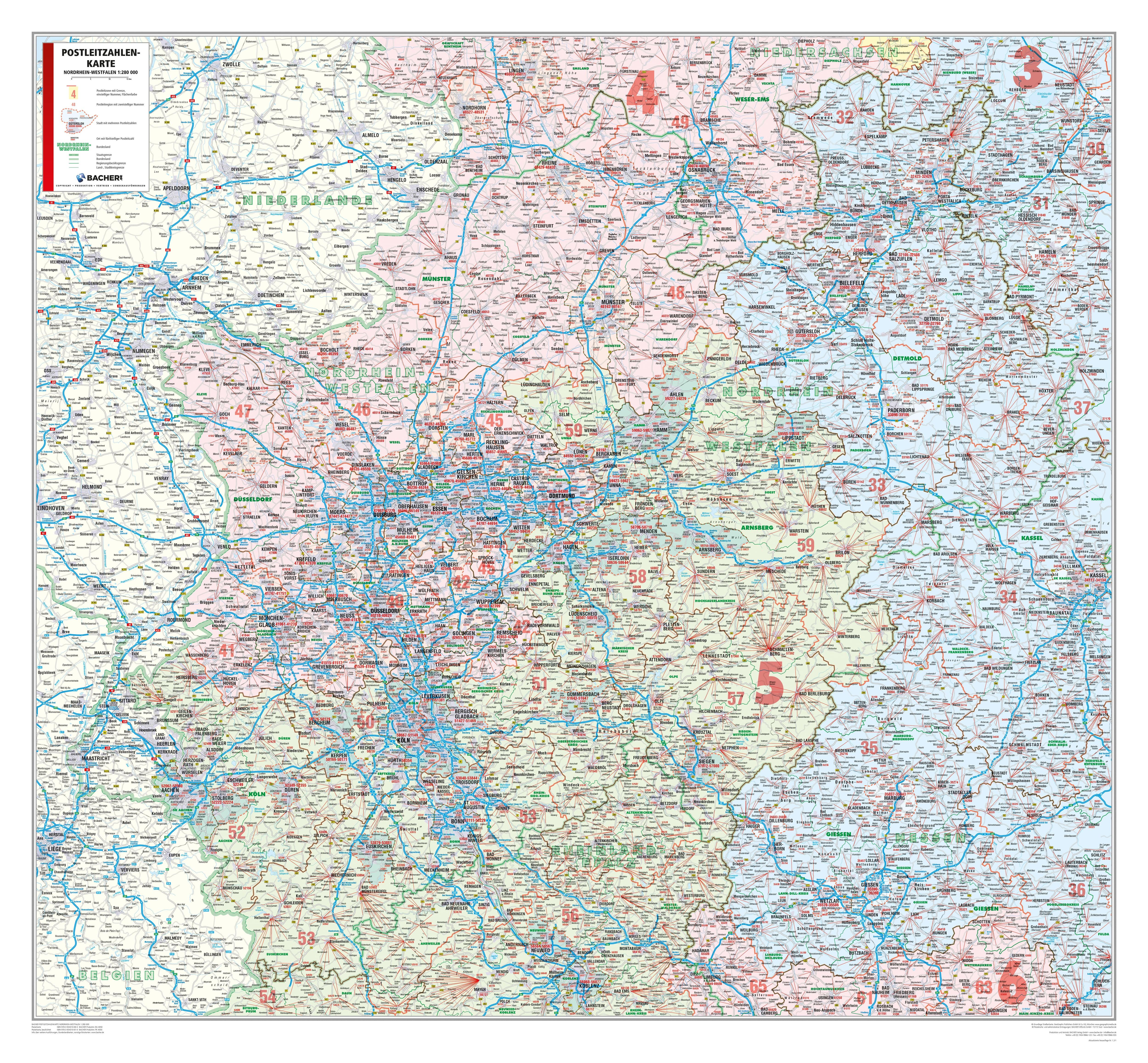 Karte Von Nrw.Postleitzahlenkarte Nordrhein Westfalen 107 X 98cm