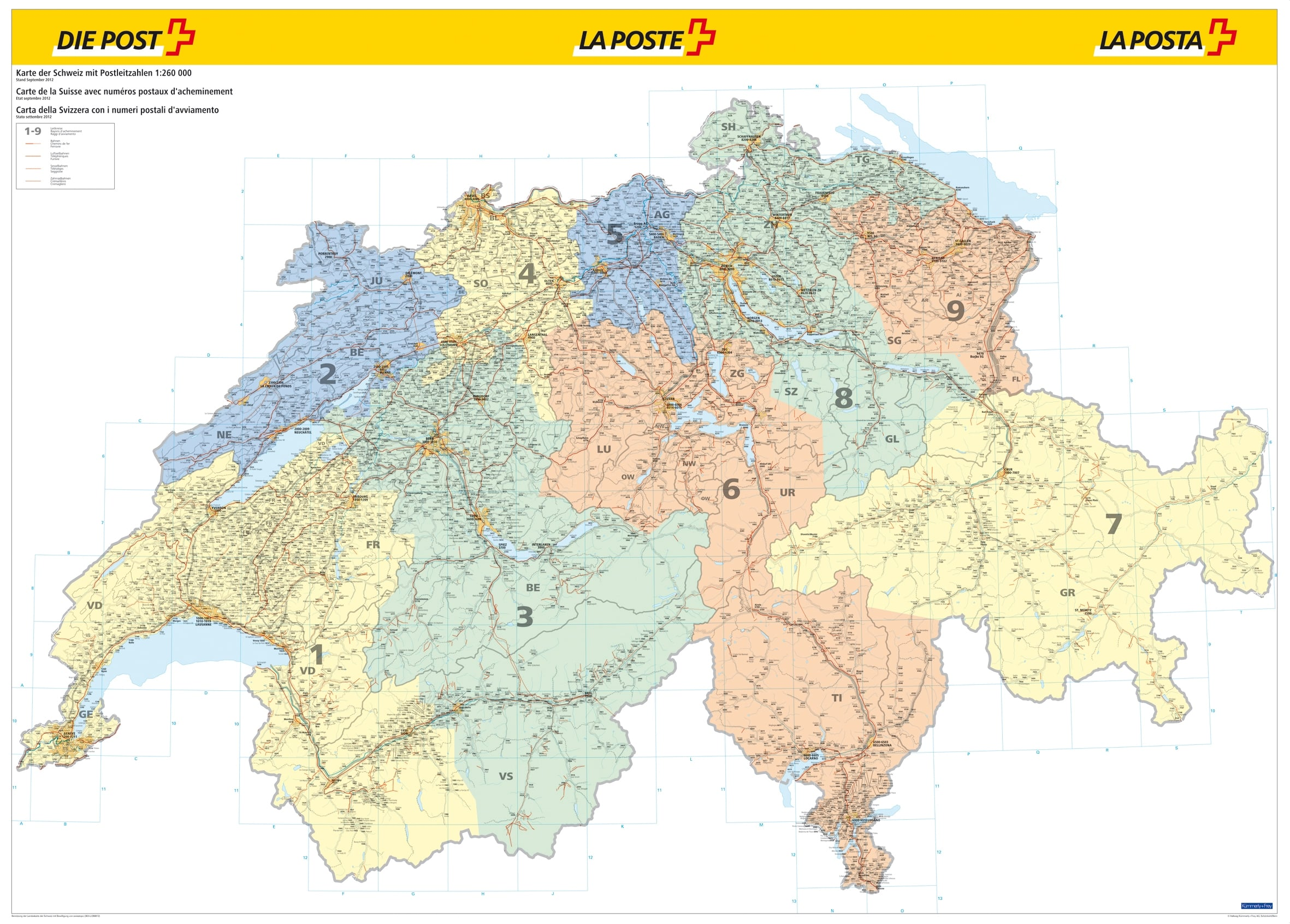 Plz Karte Schweiz.Schweiz Postleitzahlenkarte 140 X 100cm