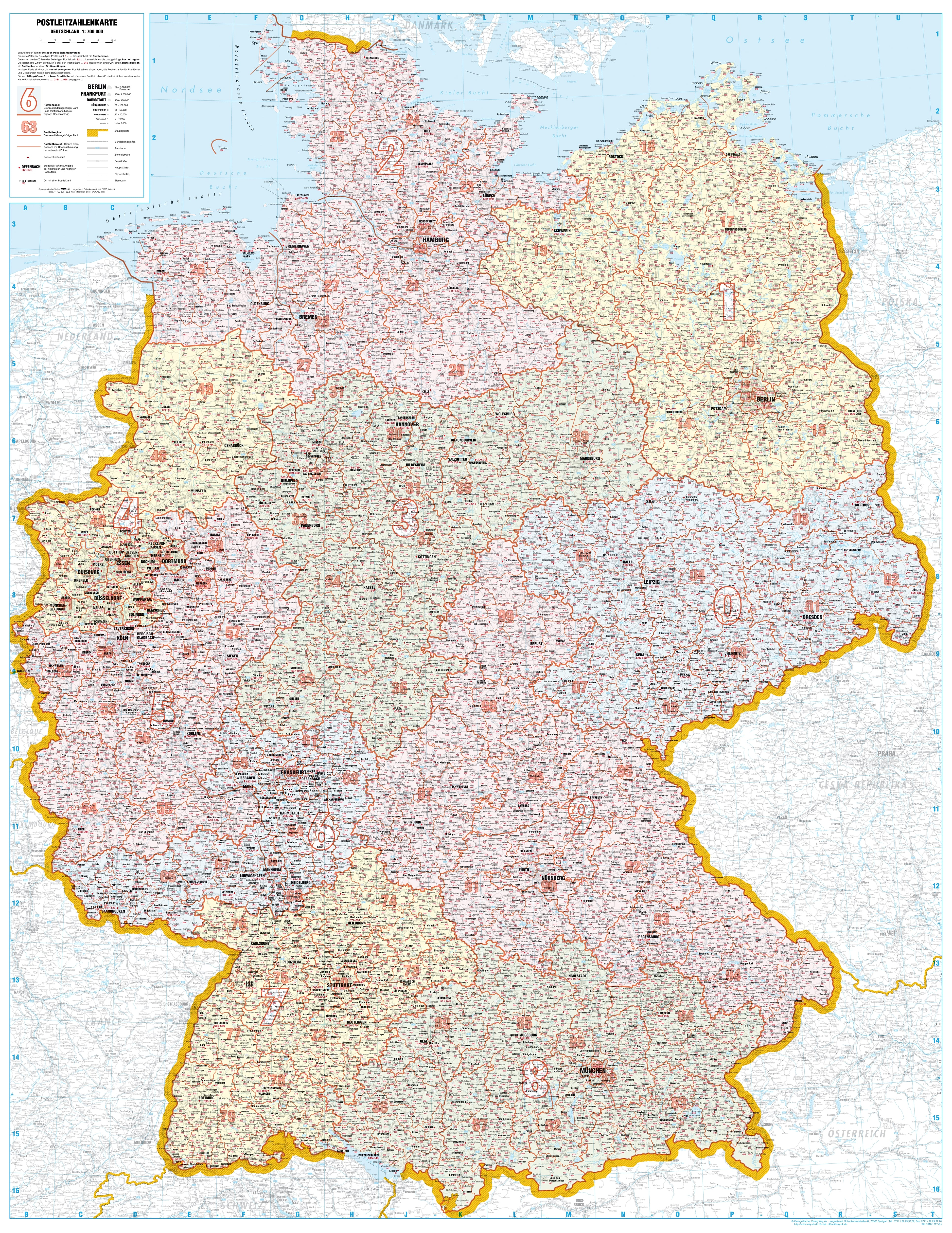 Map Of Deutschland Germany.Post Code Map Germany 98 X 128cm Germany Wall Maps Europe Wall