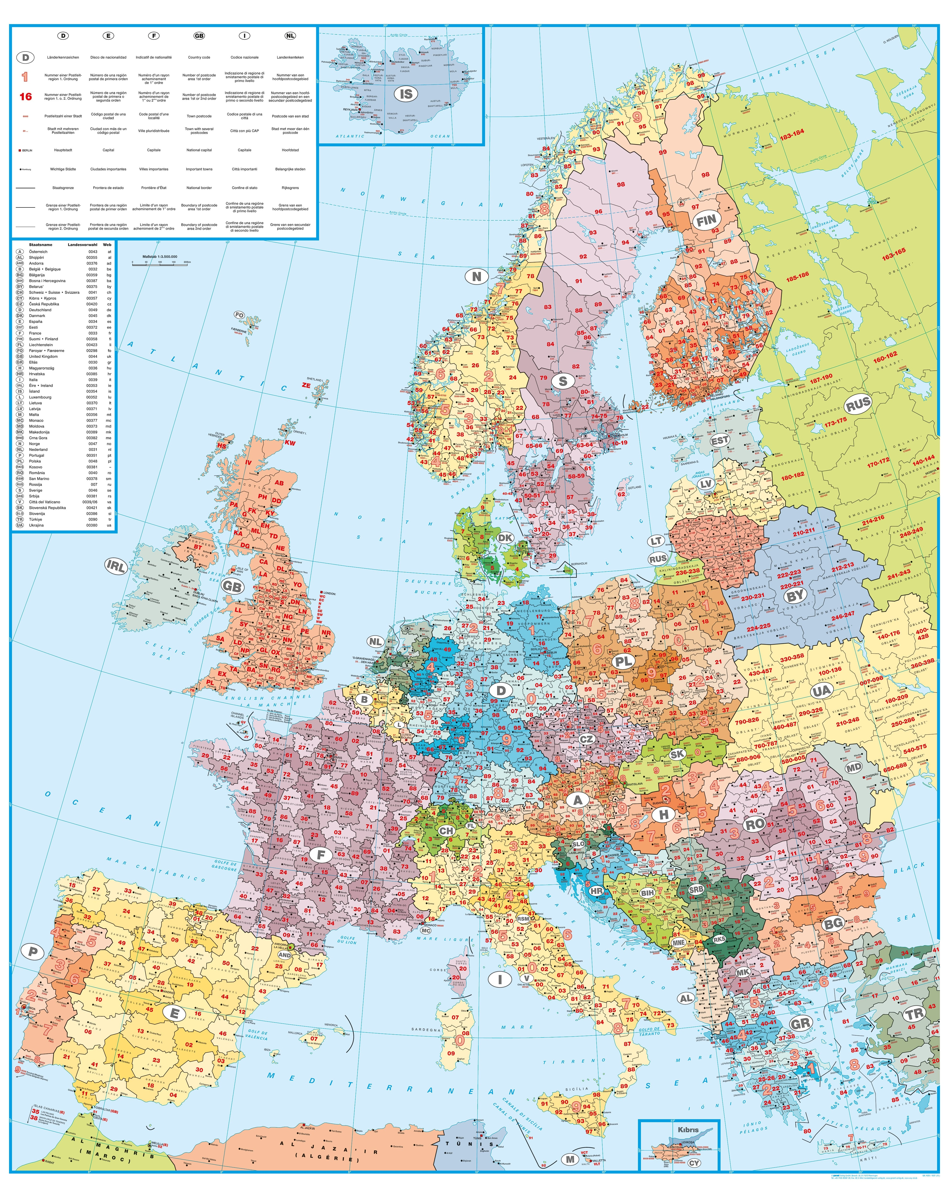 Post Code Map of Europe 98 x 123cm