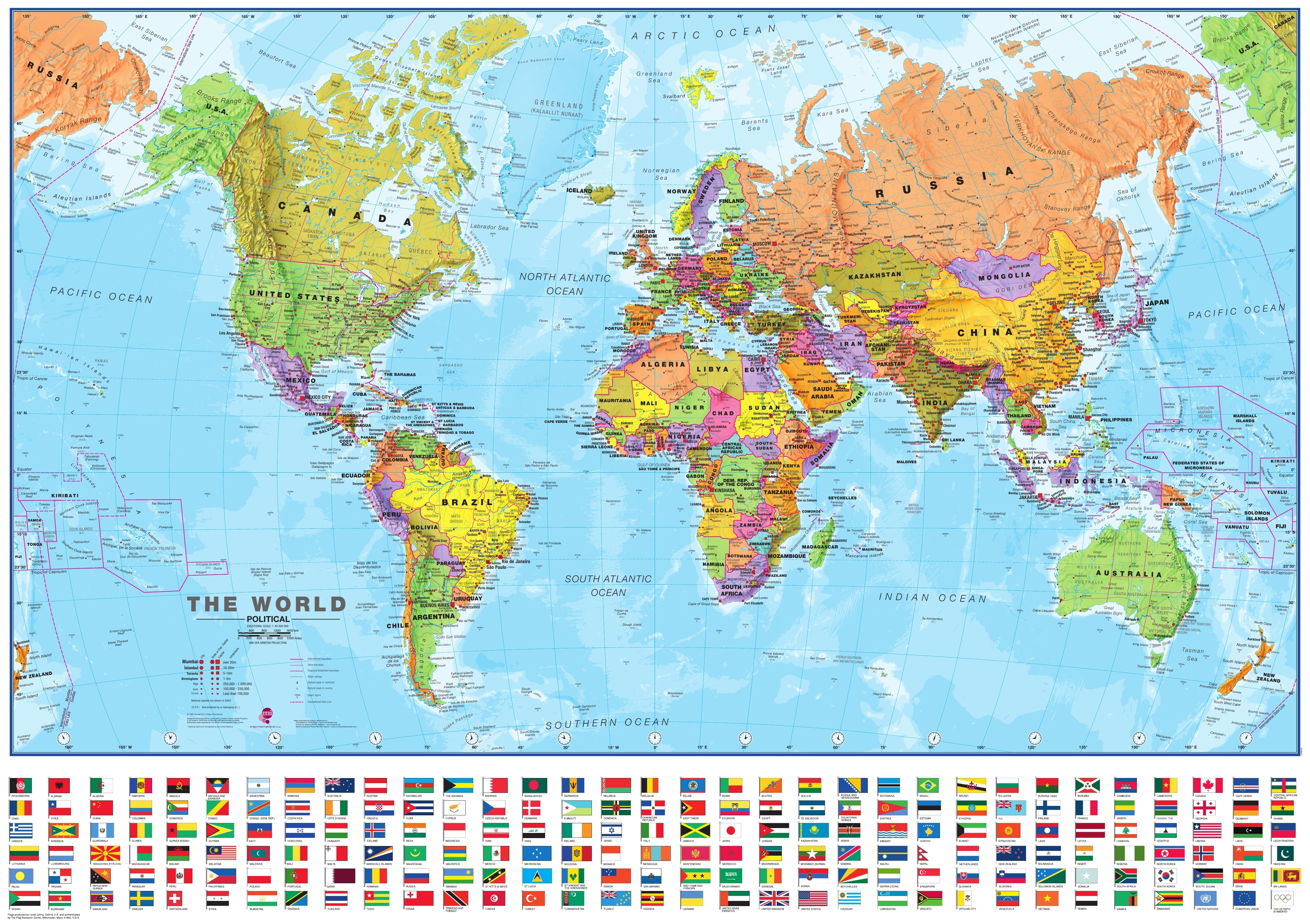 Political World Map With Flags Mio Political World Maps - Wolrd maps