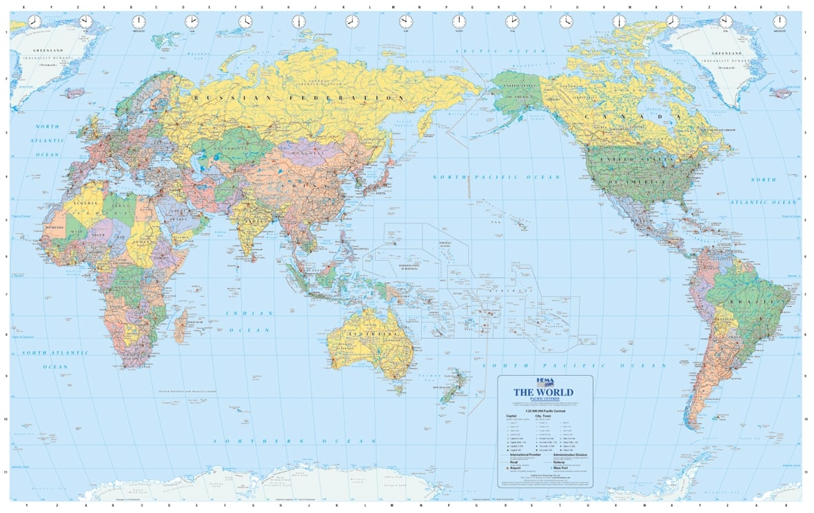 Political World Map Pacific Centered Large Size Political - World map political