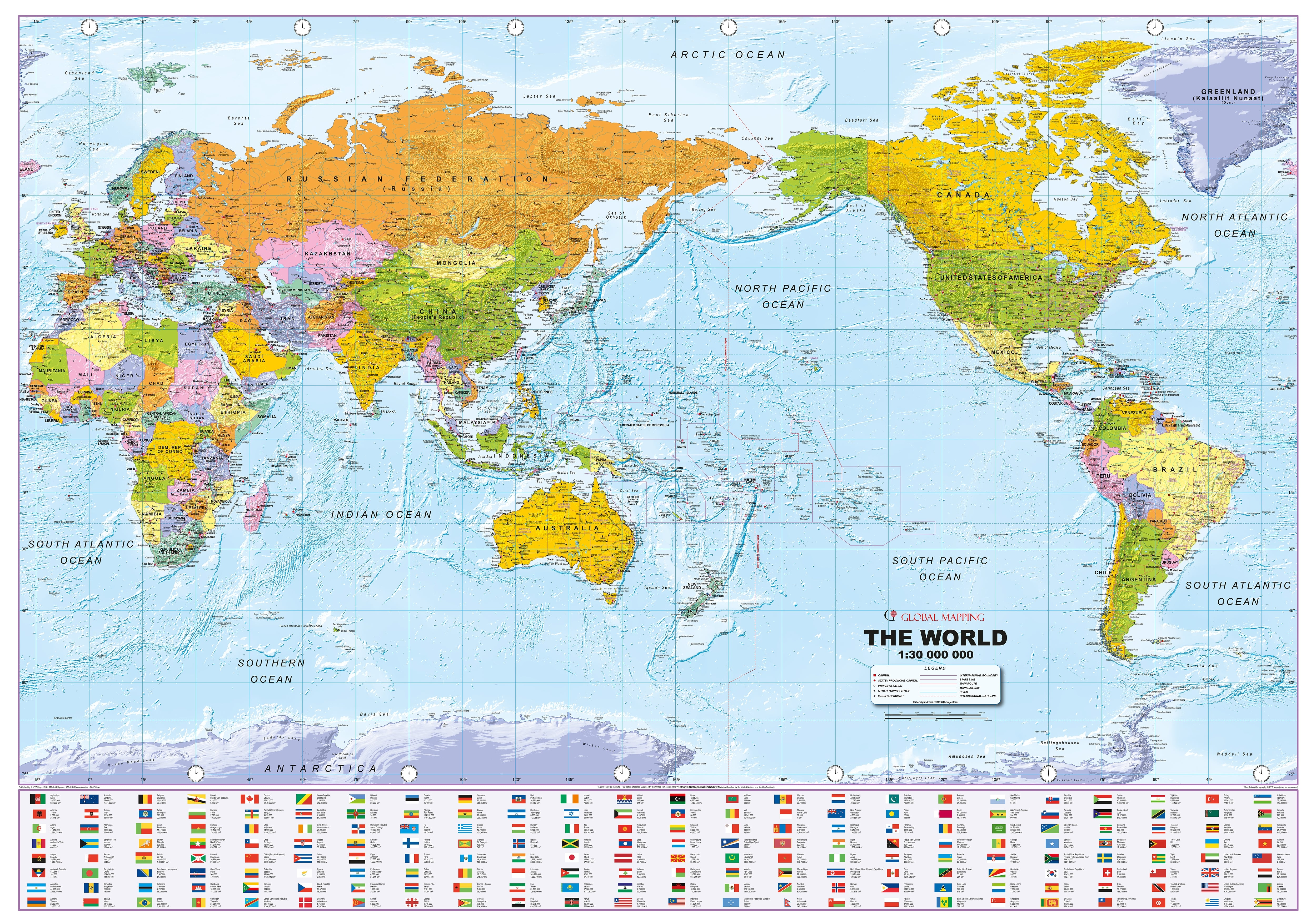 World Map Political With Flags Pacific Centered World Map In
