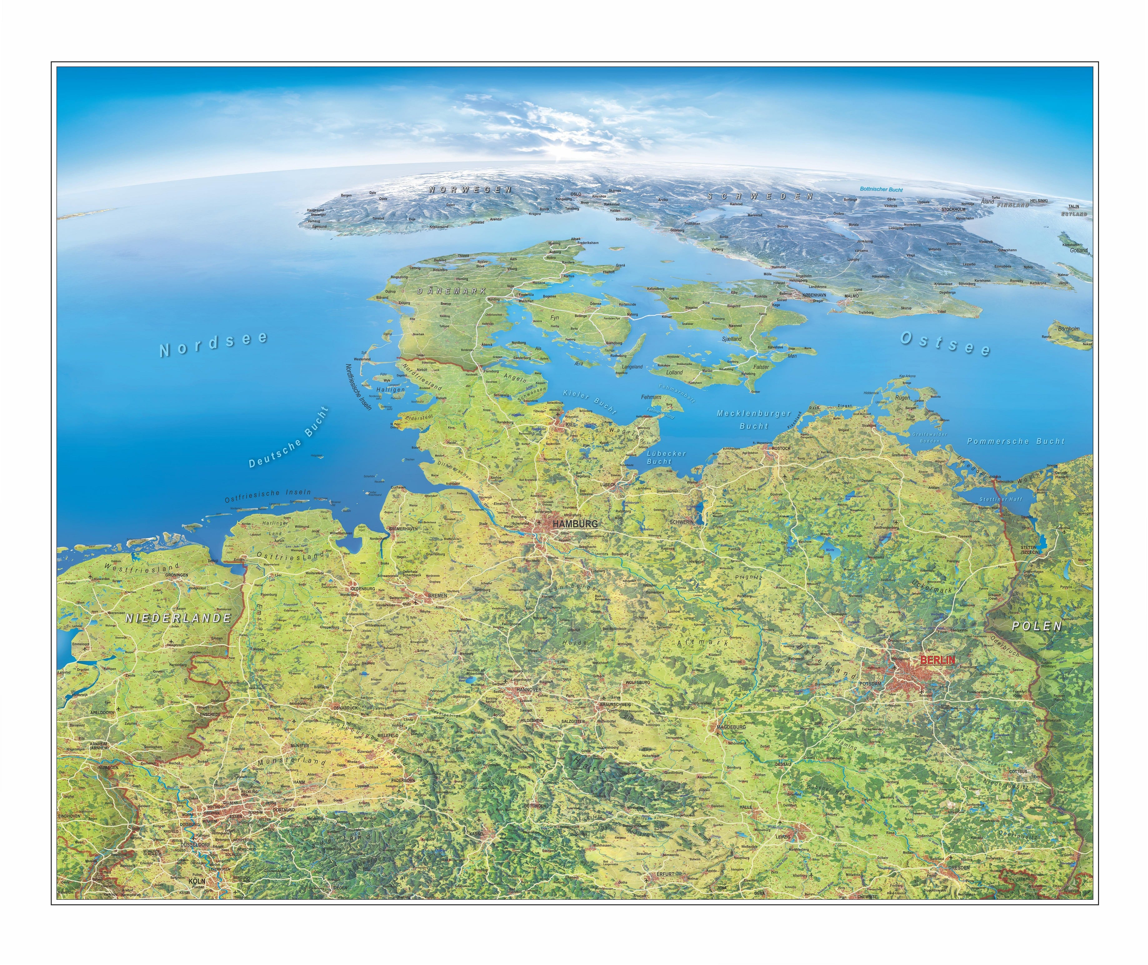 Map Of Germany Coast.Panorama Wall Map Northern Germany 116 X 94cm Germany Wall Maps