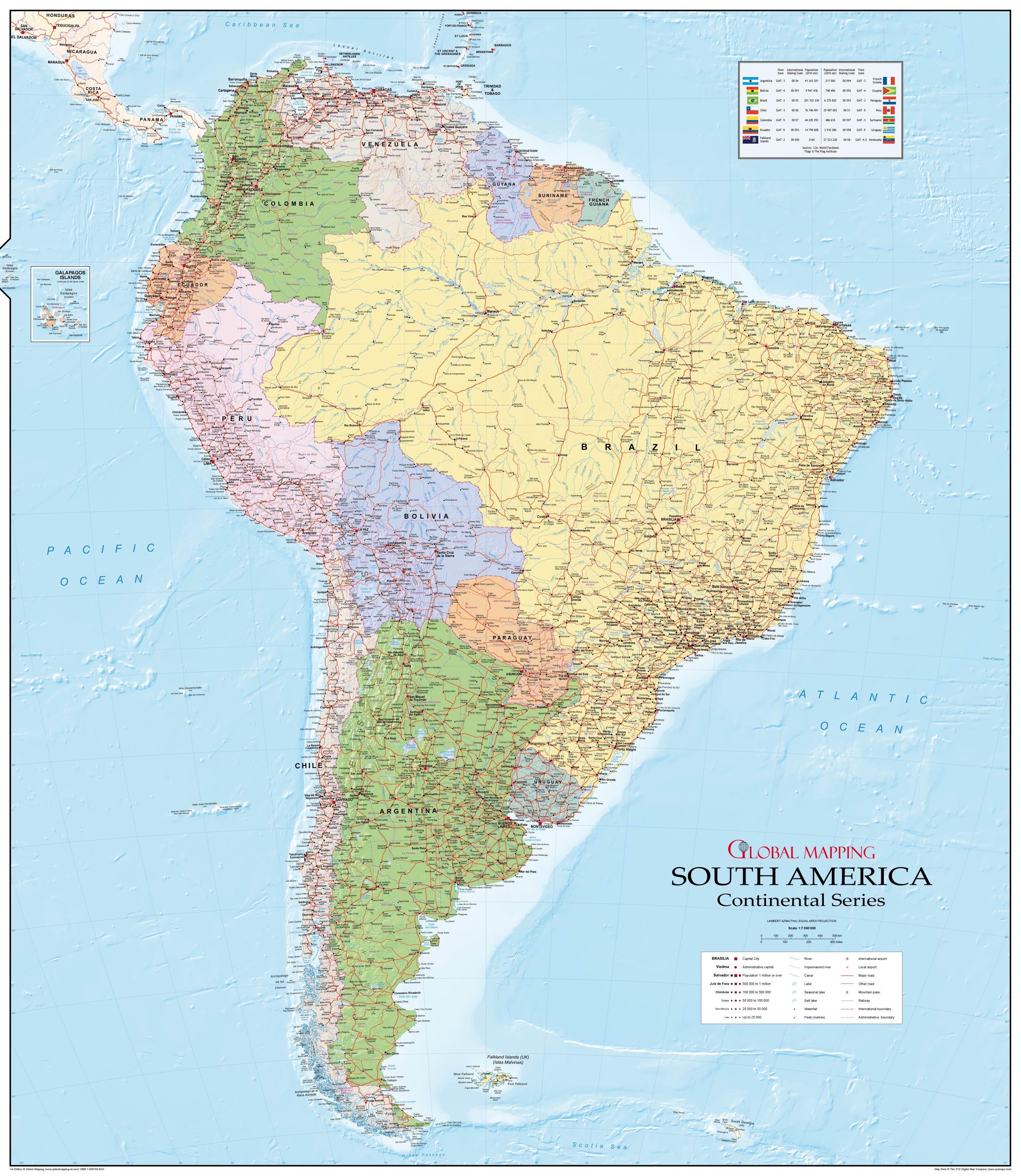 Physische Karte Lateinamerika.Sudamerika Landkarte Politisch 99 X 114cm