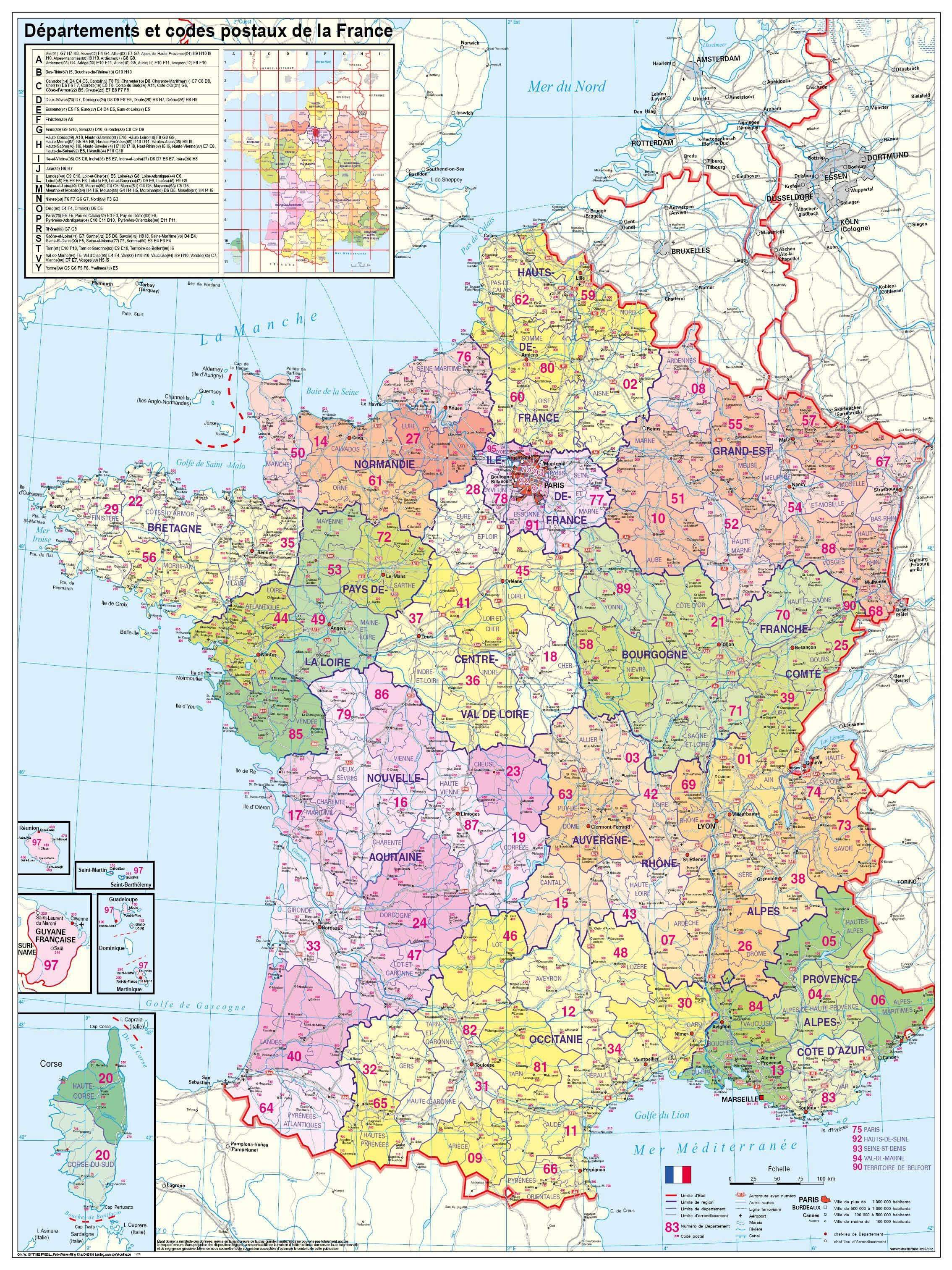 Clear Map Of France.France Departement Wall Map