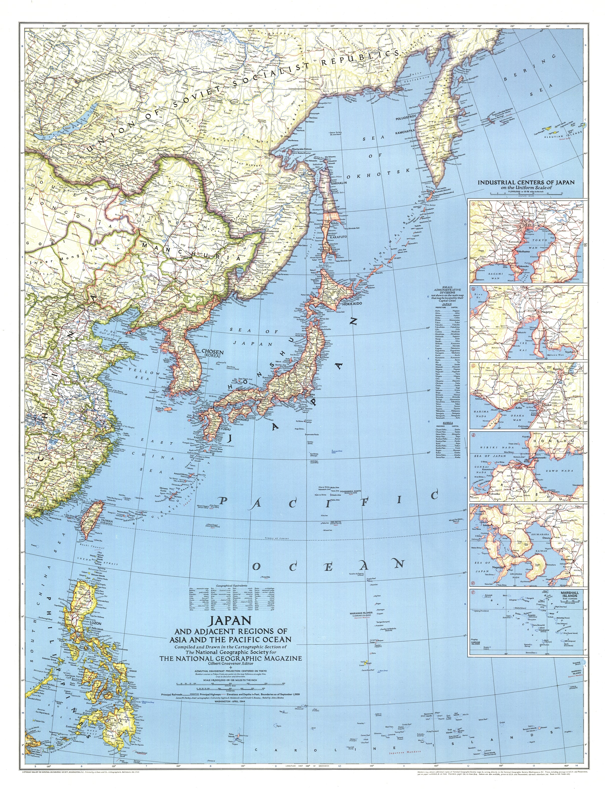 1944 Japan With Asia And The Pacific Ocean Map