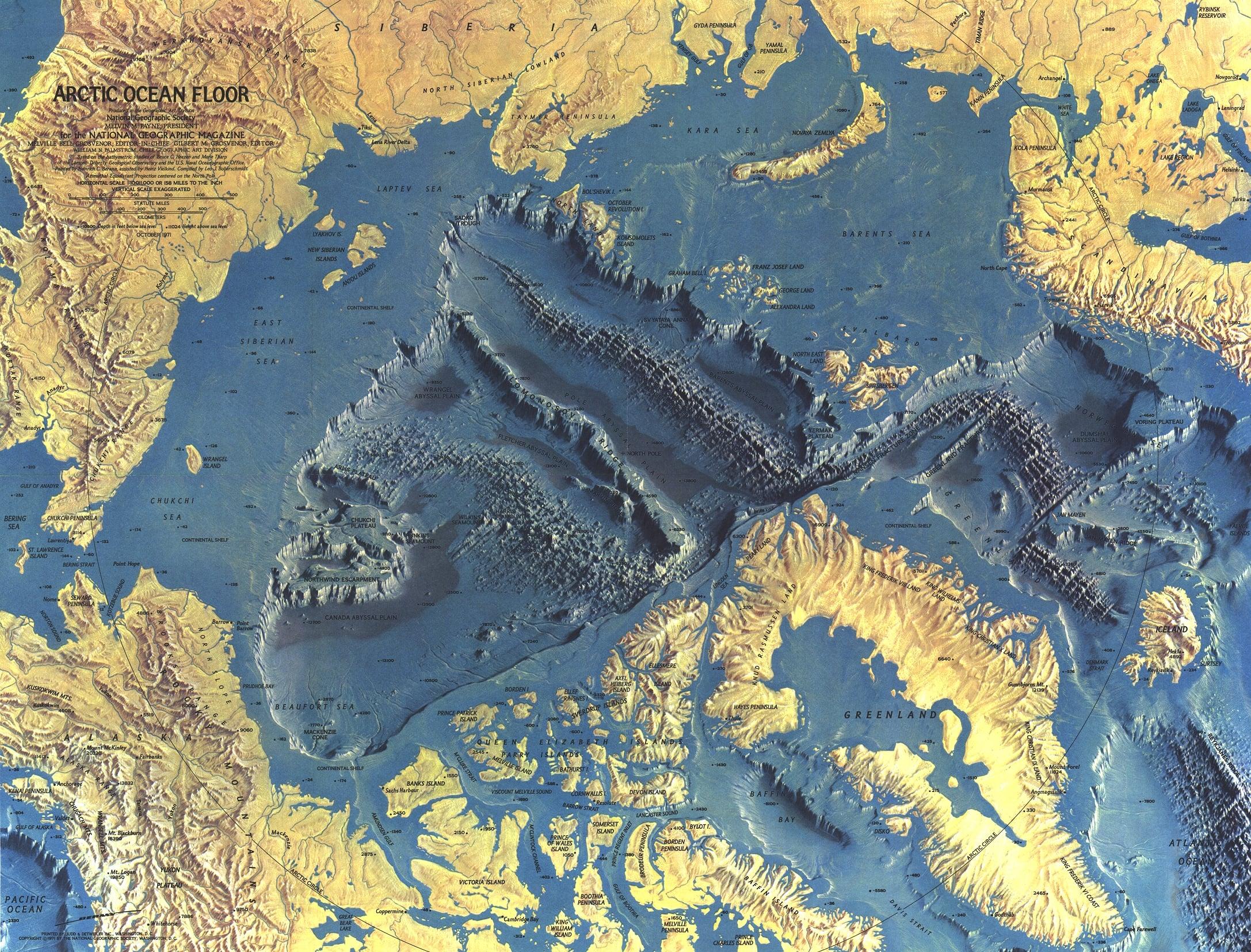 Topographic Map Of Ocean Floor.Ngs 1971 Arctic Ocean Floor Map