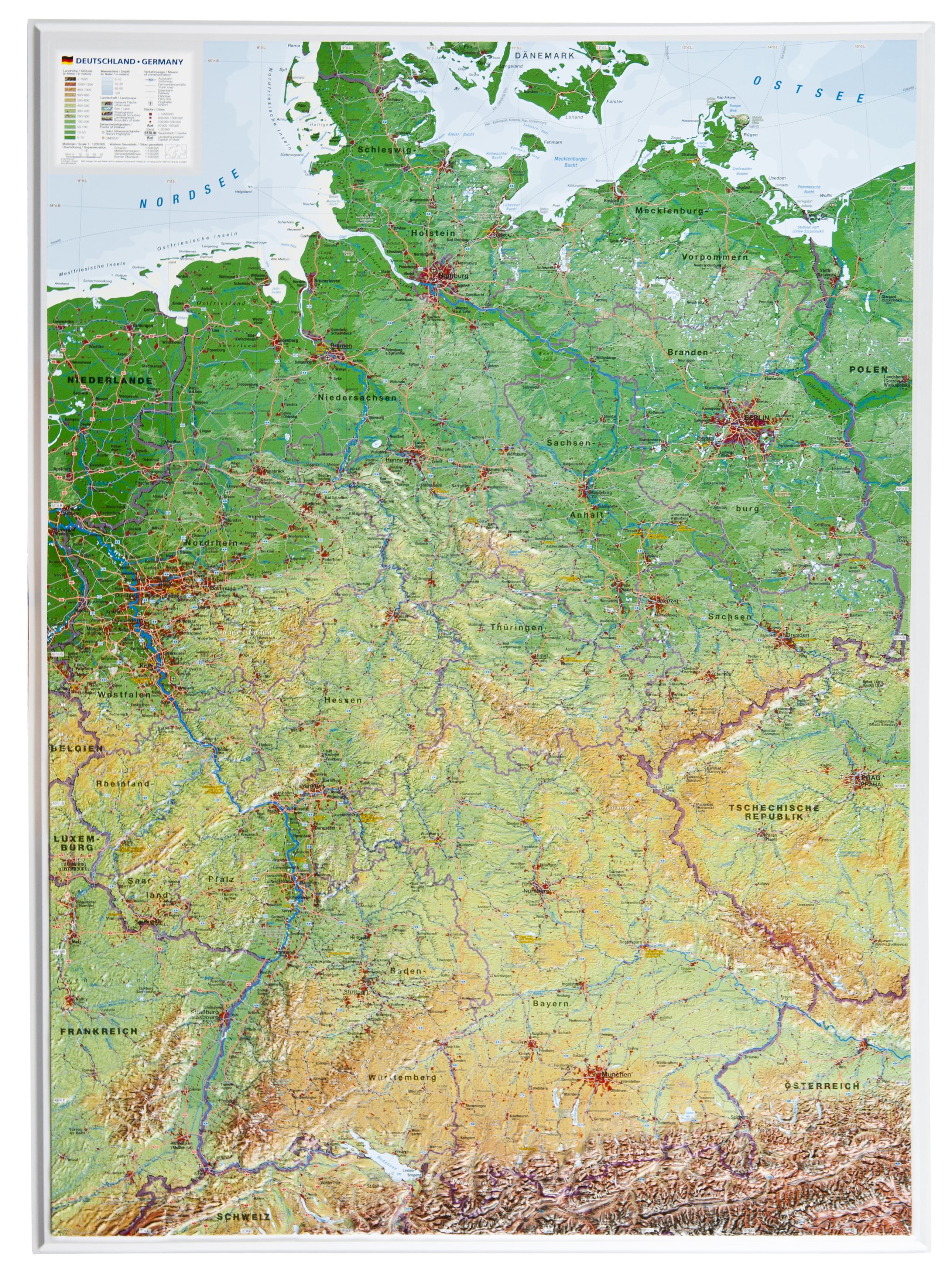 Show Map Of Germany.3d Relief Germany Map