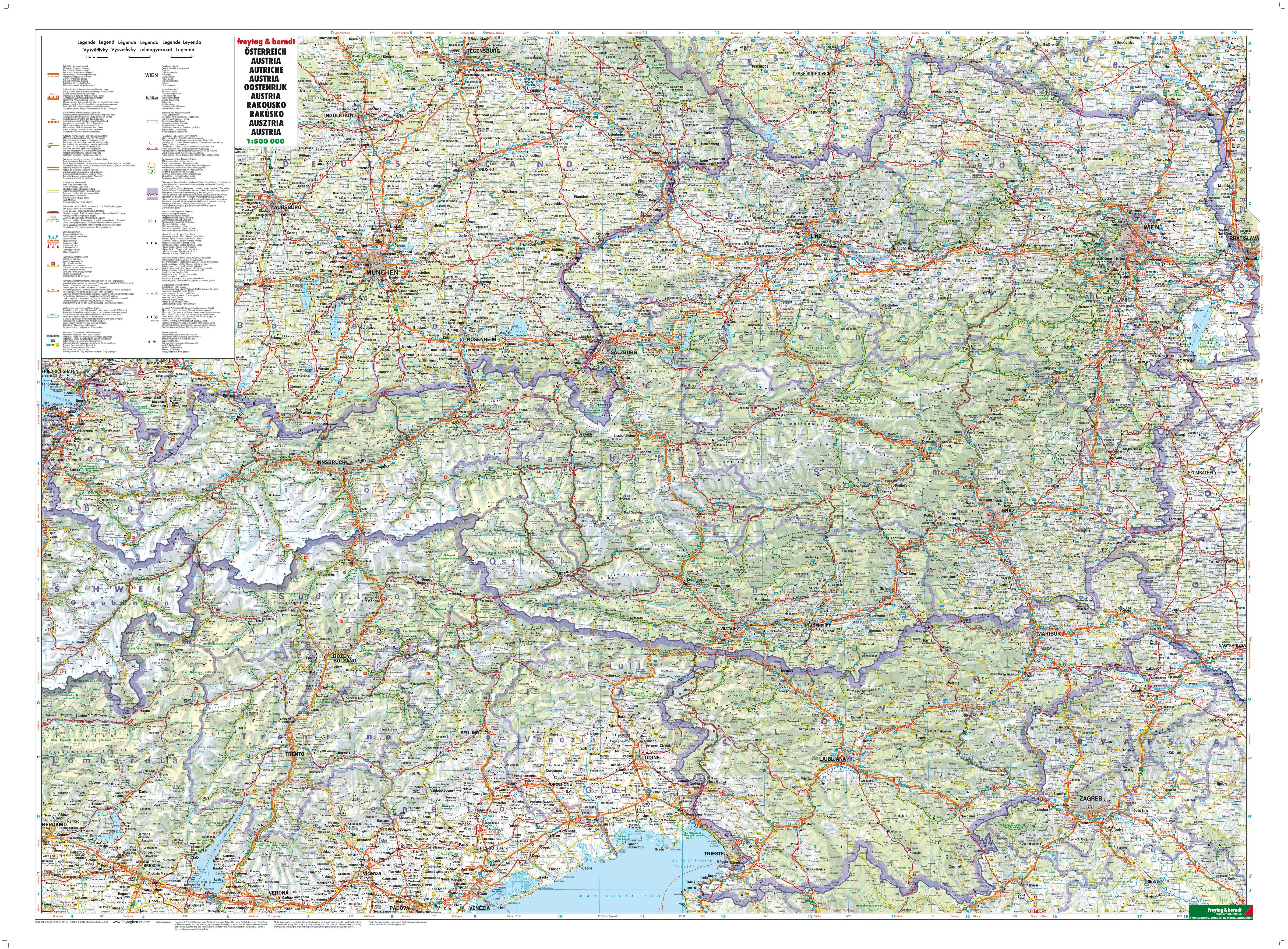 Vejkort Over Ostrig 116 X 83cm Vesteuropa Lande Europa Vaegkort