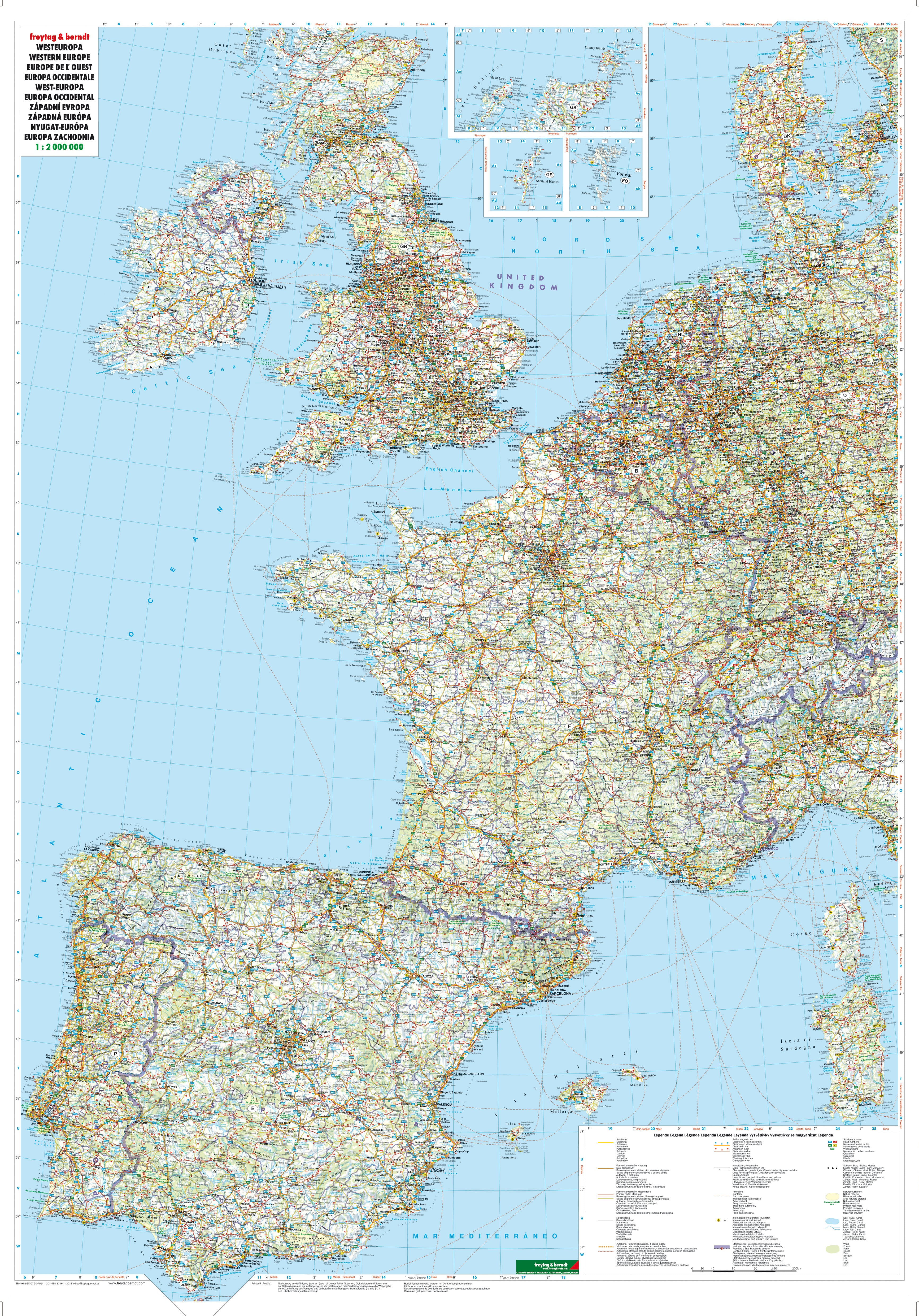 Western Europe Road Wall Map 87 x 124cm - Westeurope Countries ...