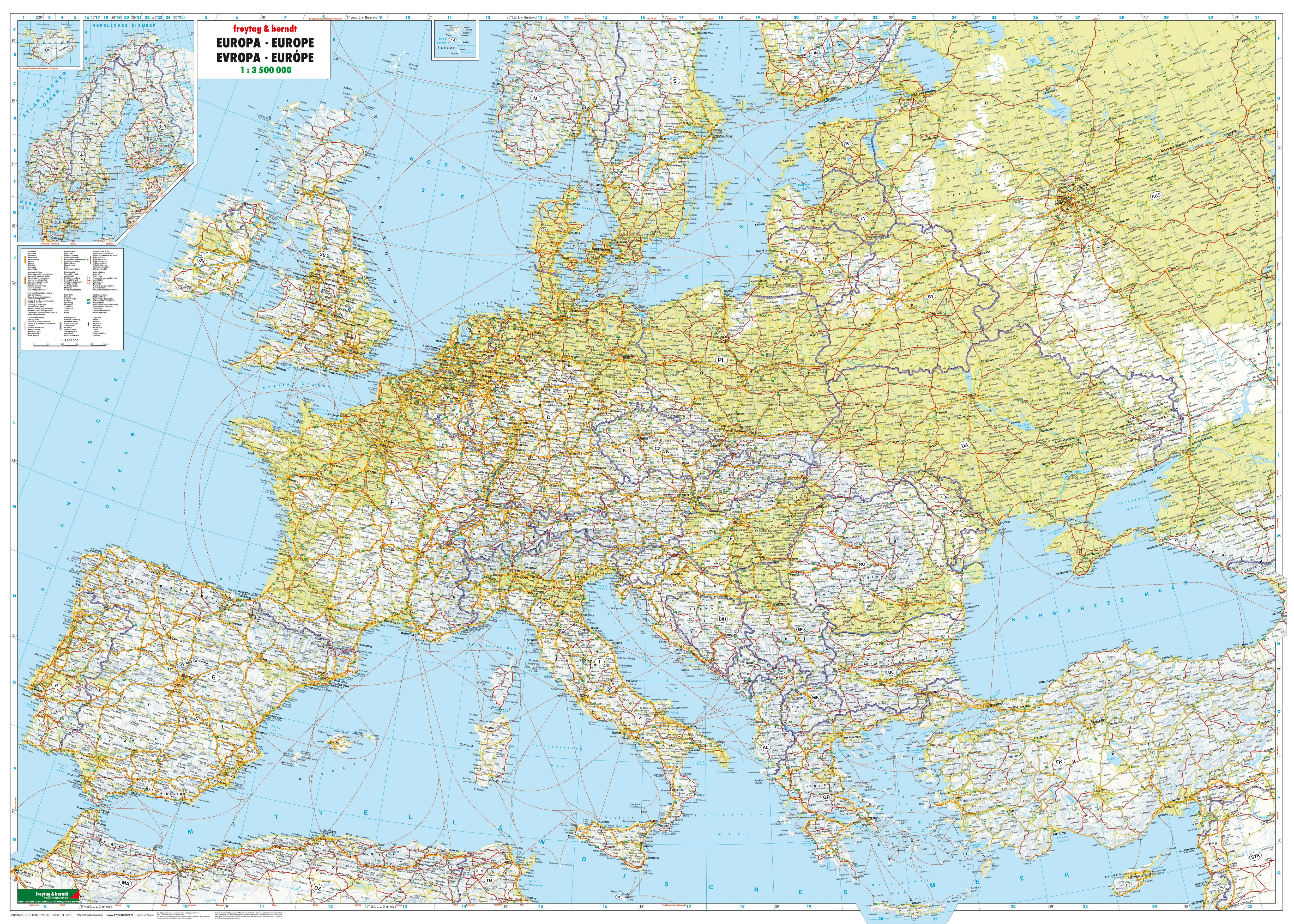 Physical Europe Wall Map