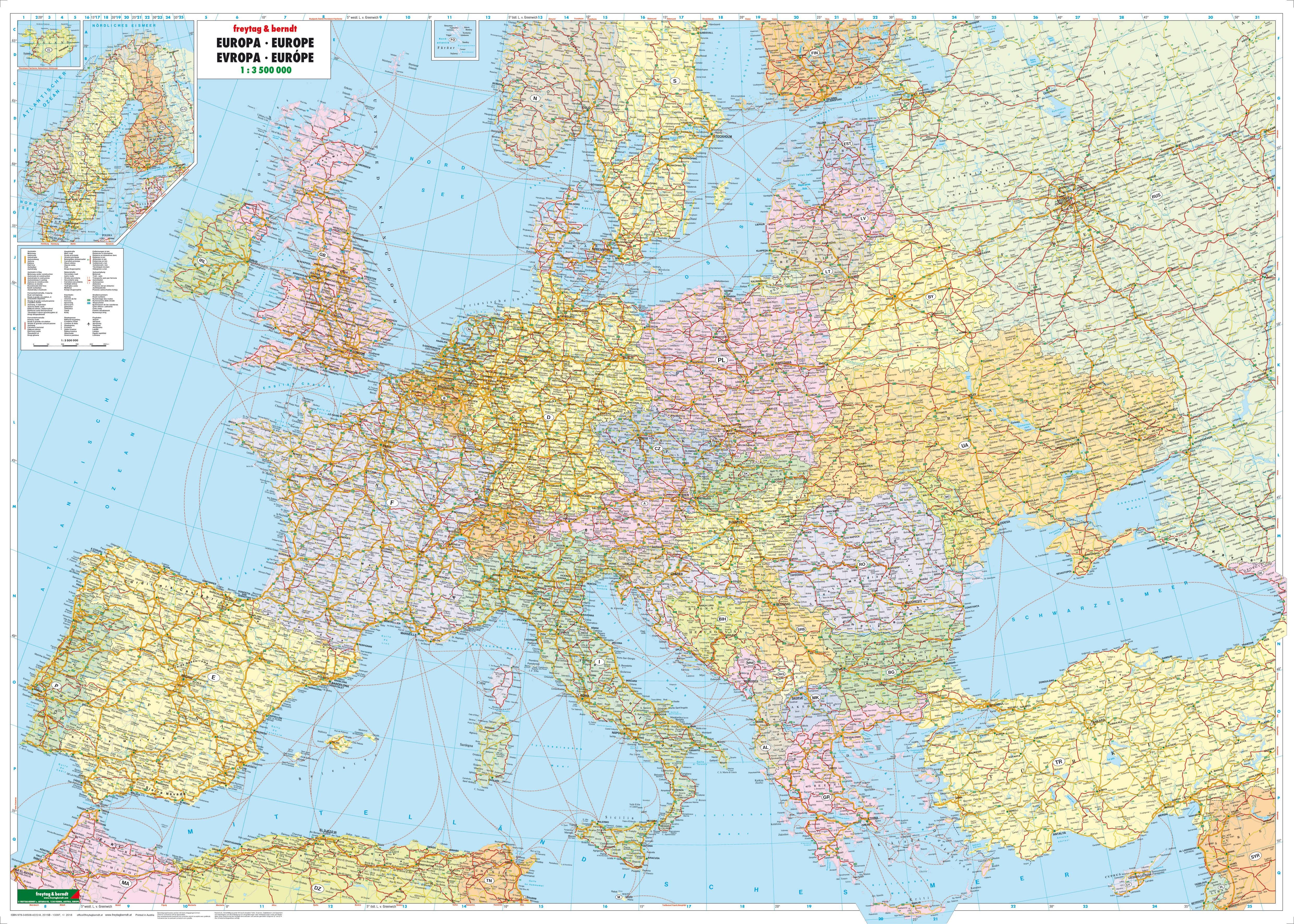 europakarte poster Politische Europa Straßen Karte Poster   Europa Landkarten  europakarte poster