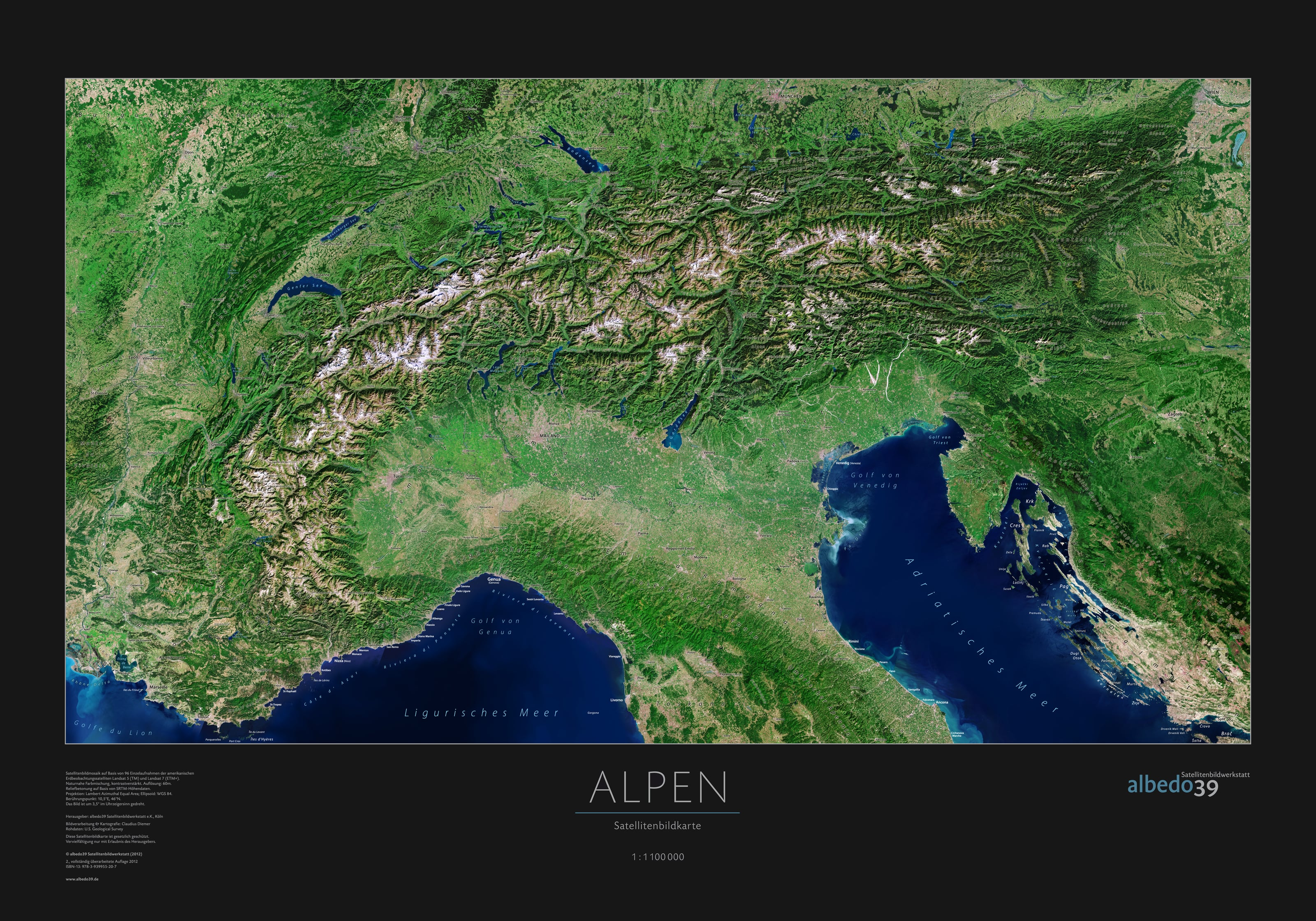 Alps Satellite Poster - Germany Wall Maps - Europe - Wall Maps
