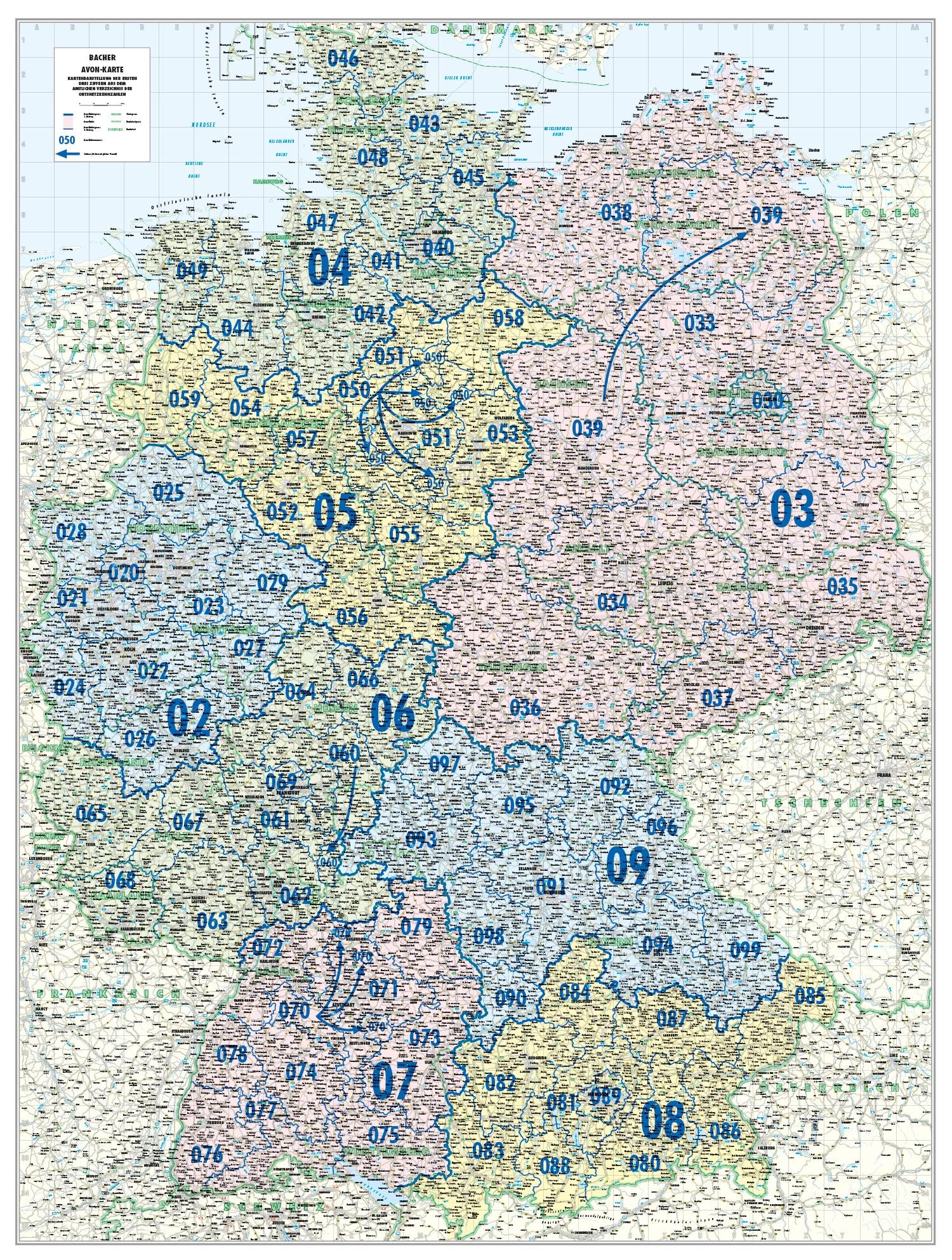 Vorwahlen Deutschland Karte.Telefonvorwahl Avon Karte Deutschland 110 X 150cm